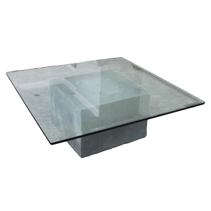 Concrete Block and Glass Top Coffee Table