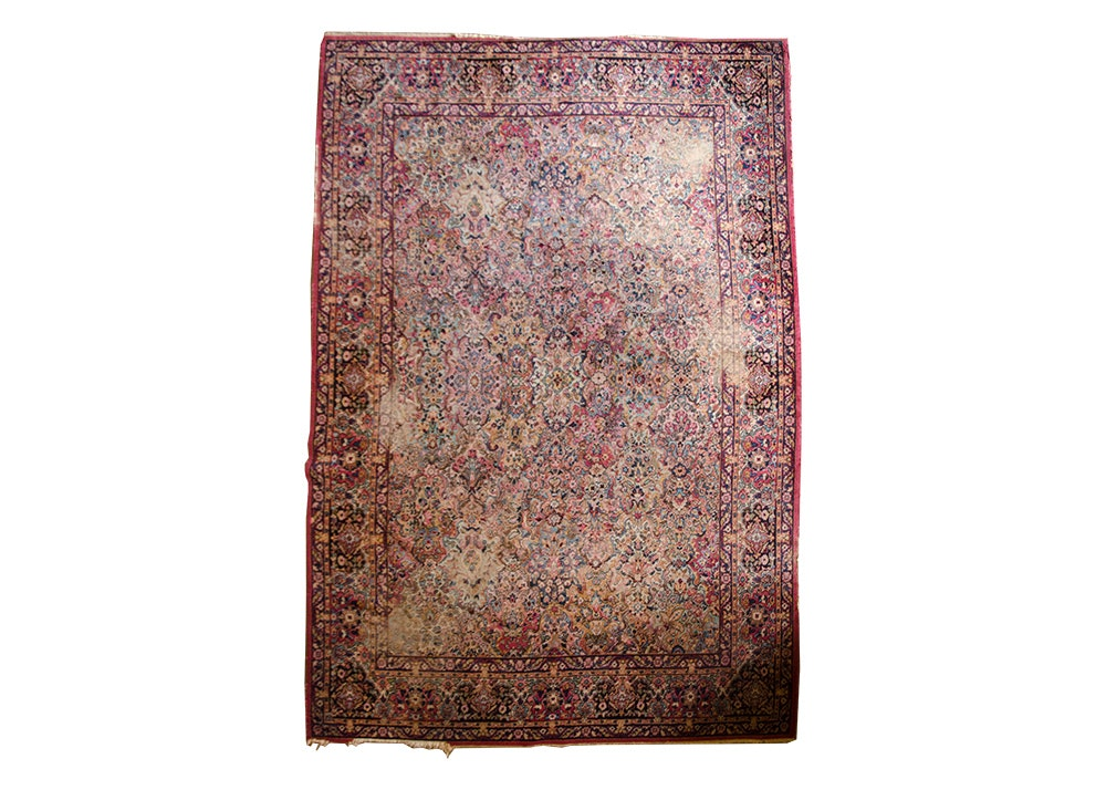 Semi-Antique Hand-Knotted Kerman Wool Area Rug