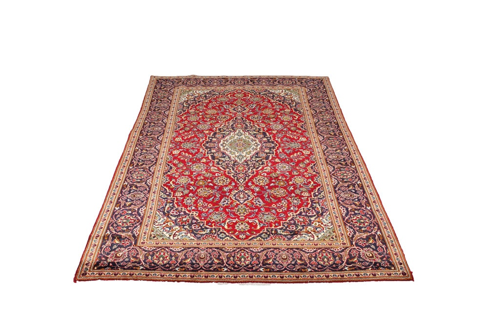 Hand-Knotted Fine Persian Kashan Area Rug