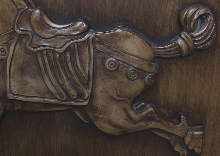 East asian style horse mahogany relief carving ebth