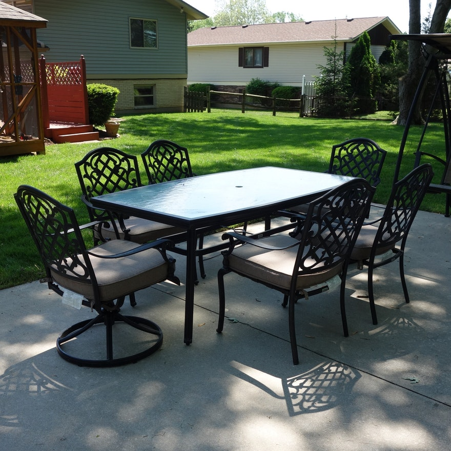 Martha Stewart Living Patio Glass Top Table & Six Chairs ... on Martha Living Patio Set id=66057