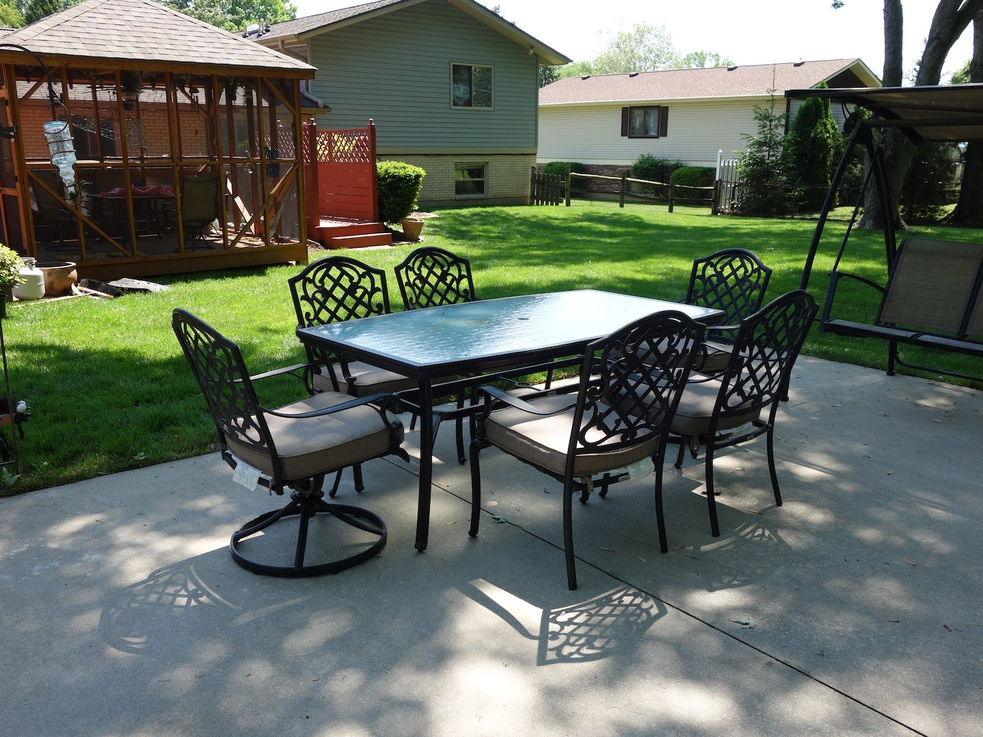 Martha Stewart Living Patio Glass Top Table & Six Chairs ... on Martha Stewart 6 Piece Patio Set id=47930