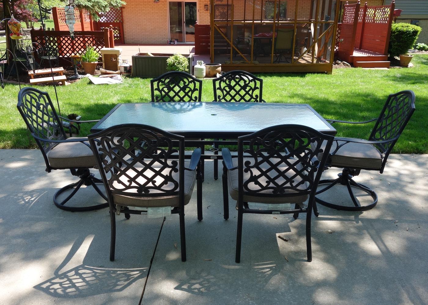 Martha Stewart Living Patio Glass Top Table Amp Six Chairs