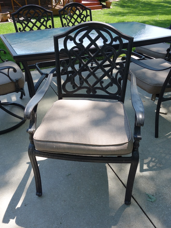 Martha Stewart Living Patio Glass Top Table & Six Chairs ... on Martha Stewart 6 Piece Patio Set id=56759