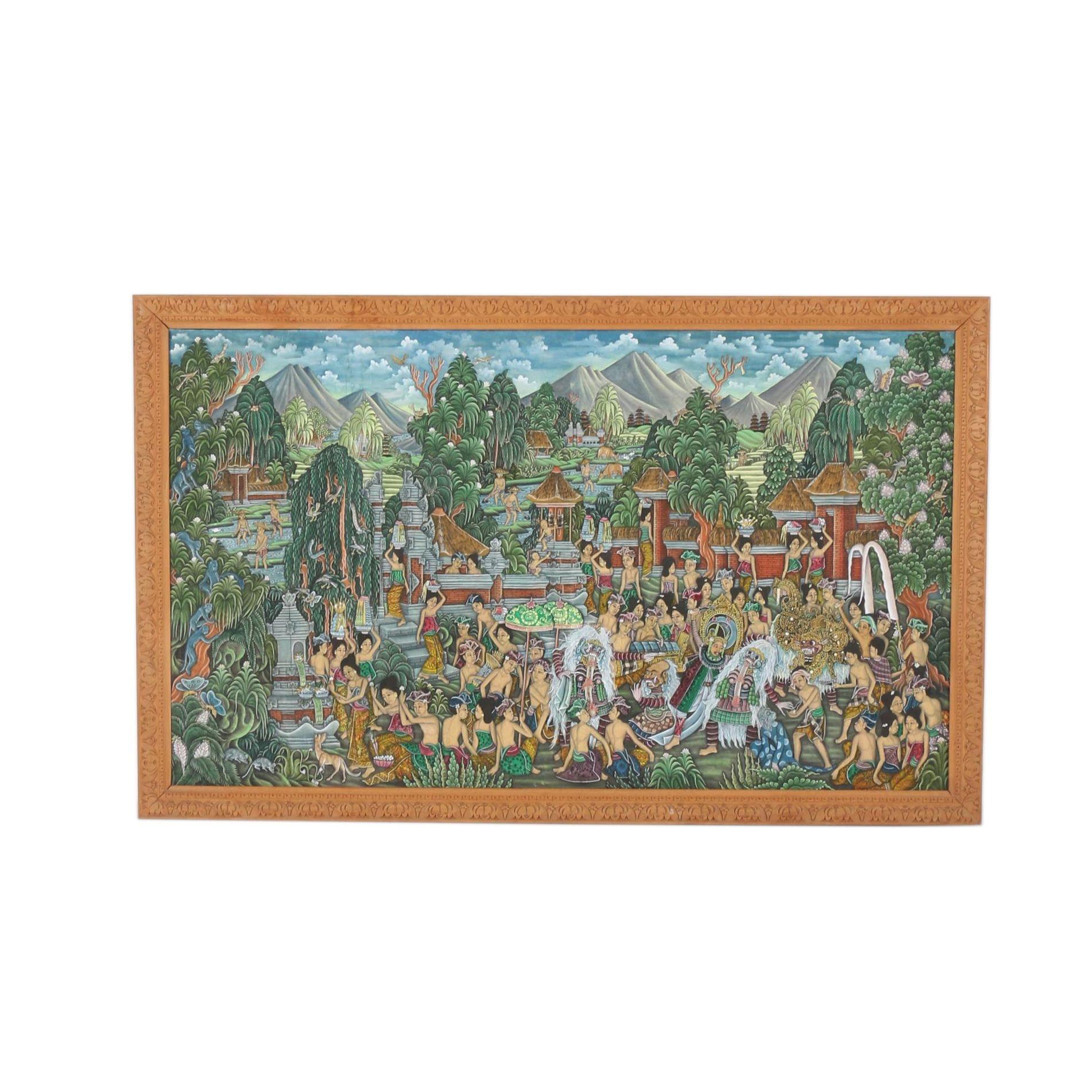 Balinese Acrylic Painting on Cotton Festival Scene