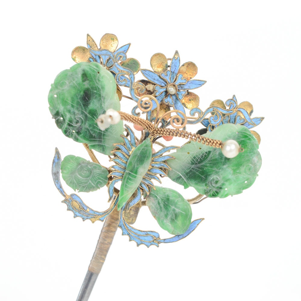 Late Qing Nepherite and Sterling Silver Butterfly Hairpin