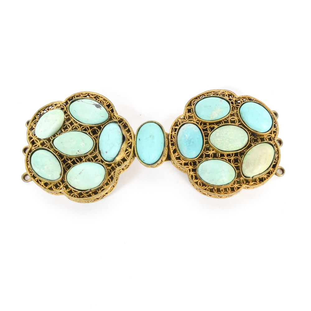 Antique Brass and Turquoise Buckle Fastener