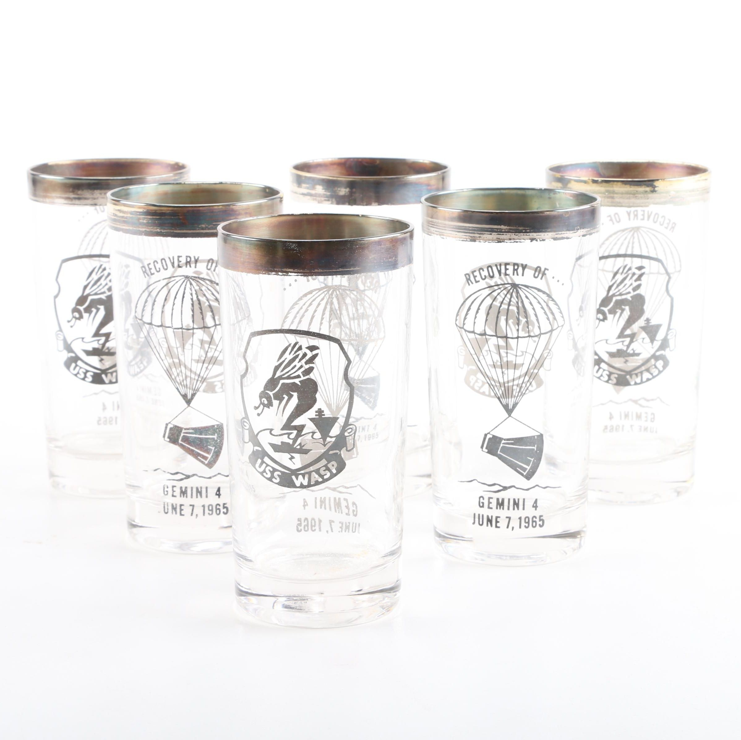 1965 USS Wasp Recovery of Gemini IV Commemortive Drinking Glasses