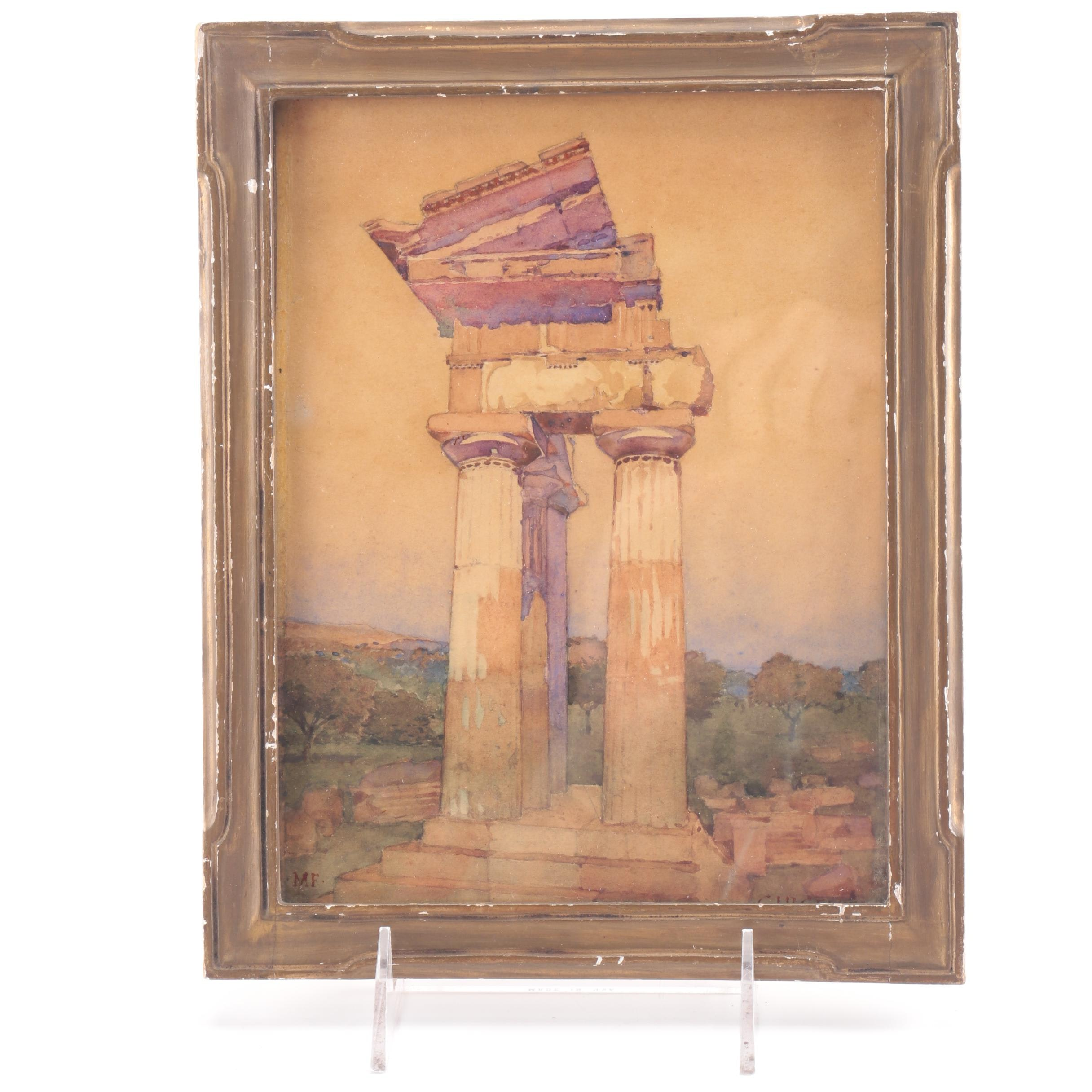"""Framed Watercolor """"Girgenti"""" Attributed to Maurice Feather"""