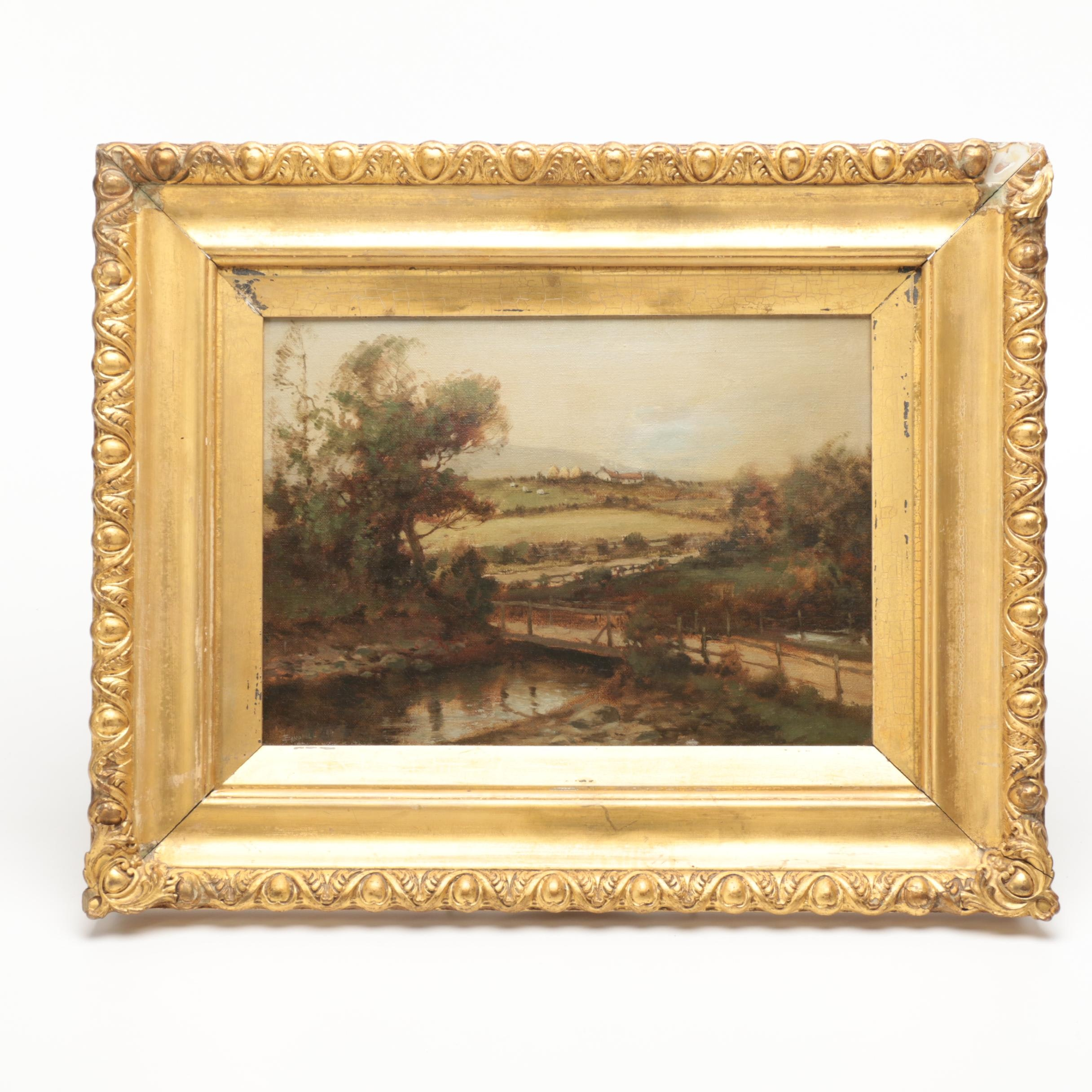 Antique Signed Oil Landscape Painting on Canvas of a River
