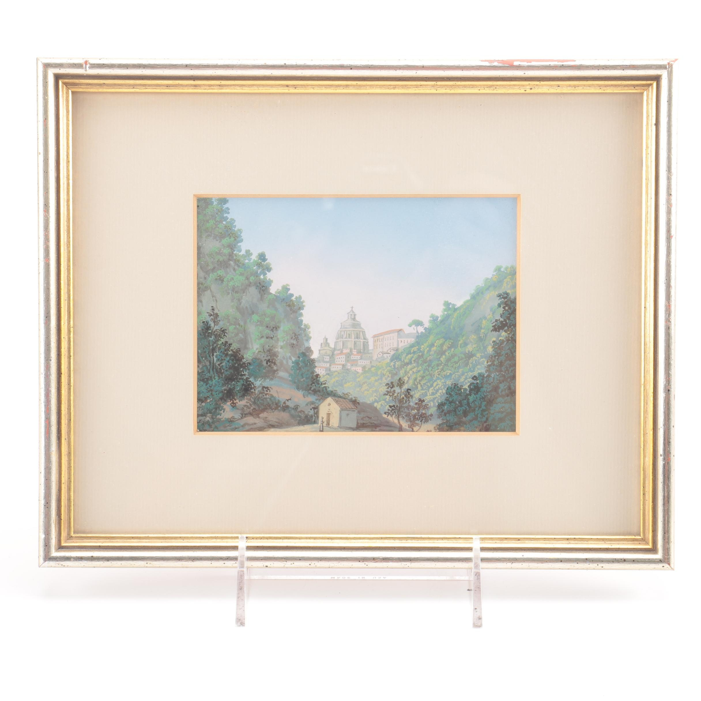 Framed Gouache Painting on Paper of a Landscape