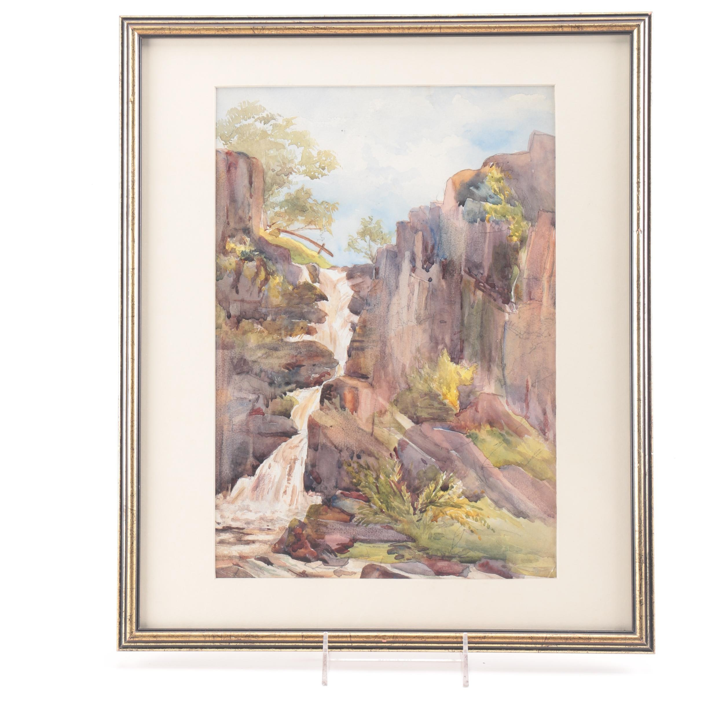Original Watercolor Painting on paper of a Waterfall