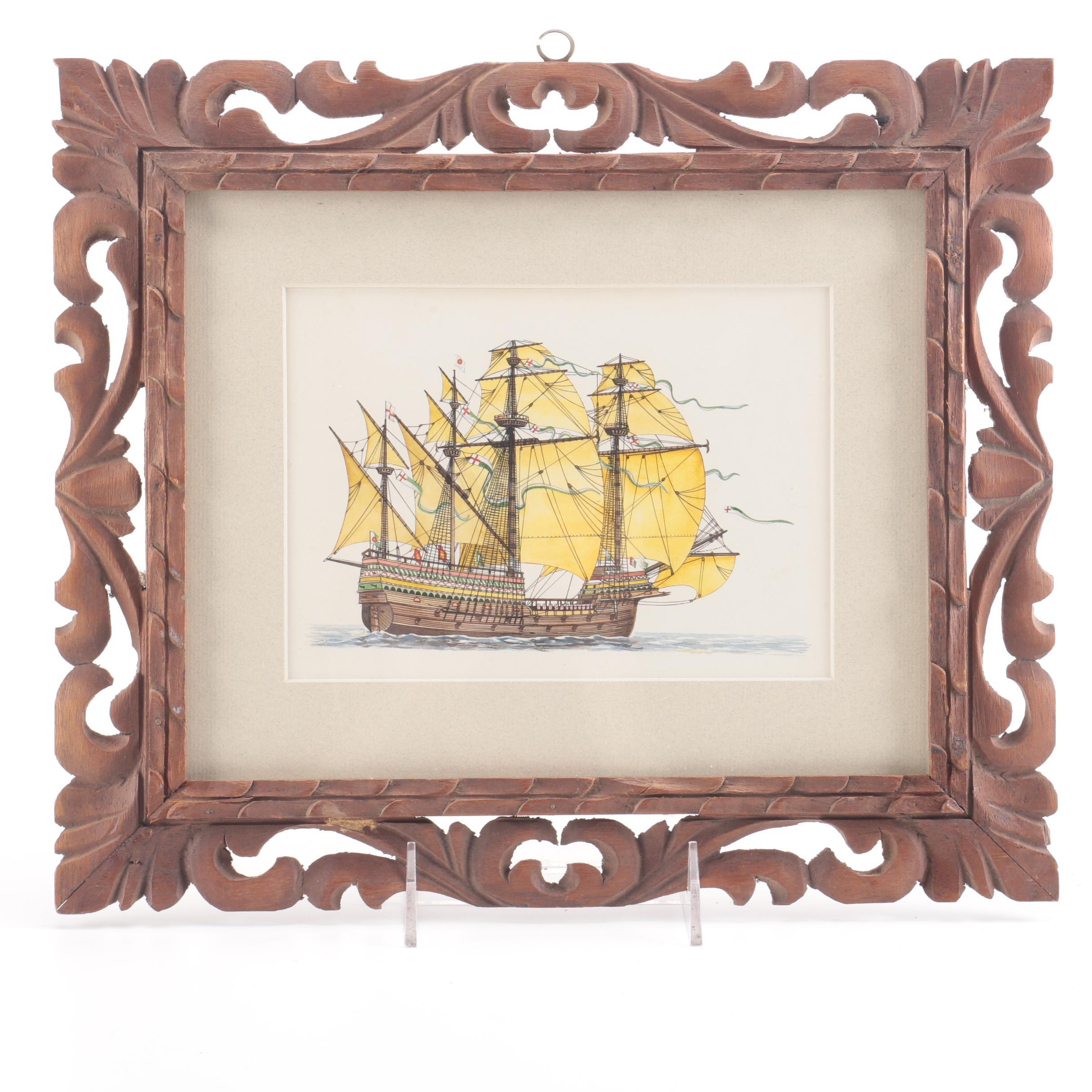 "Framed Watercolor on Paper ""Henry Grace à Dieu"""