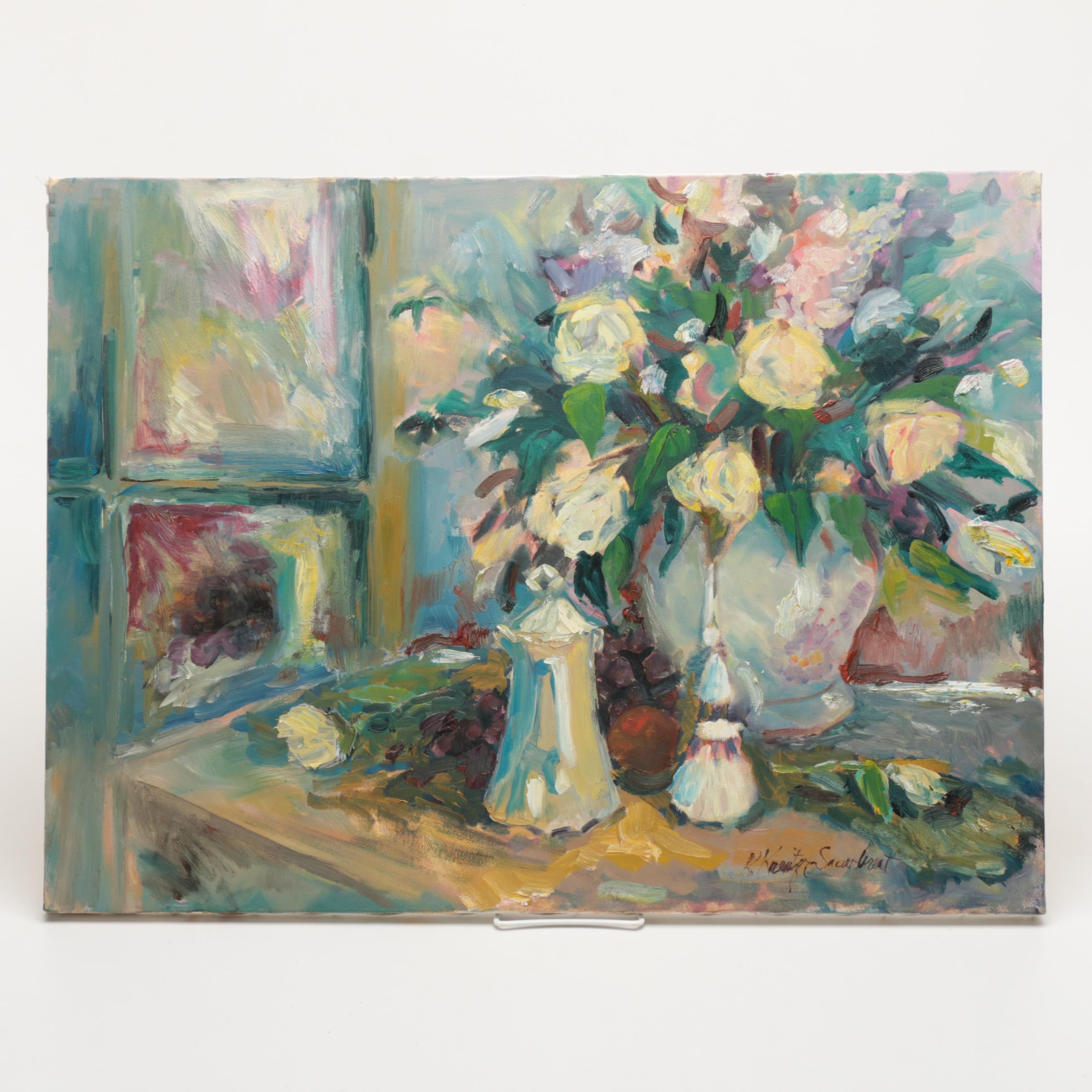 Oil Floral Still Life Painting on Canvas