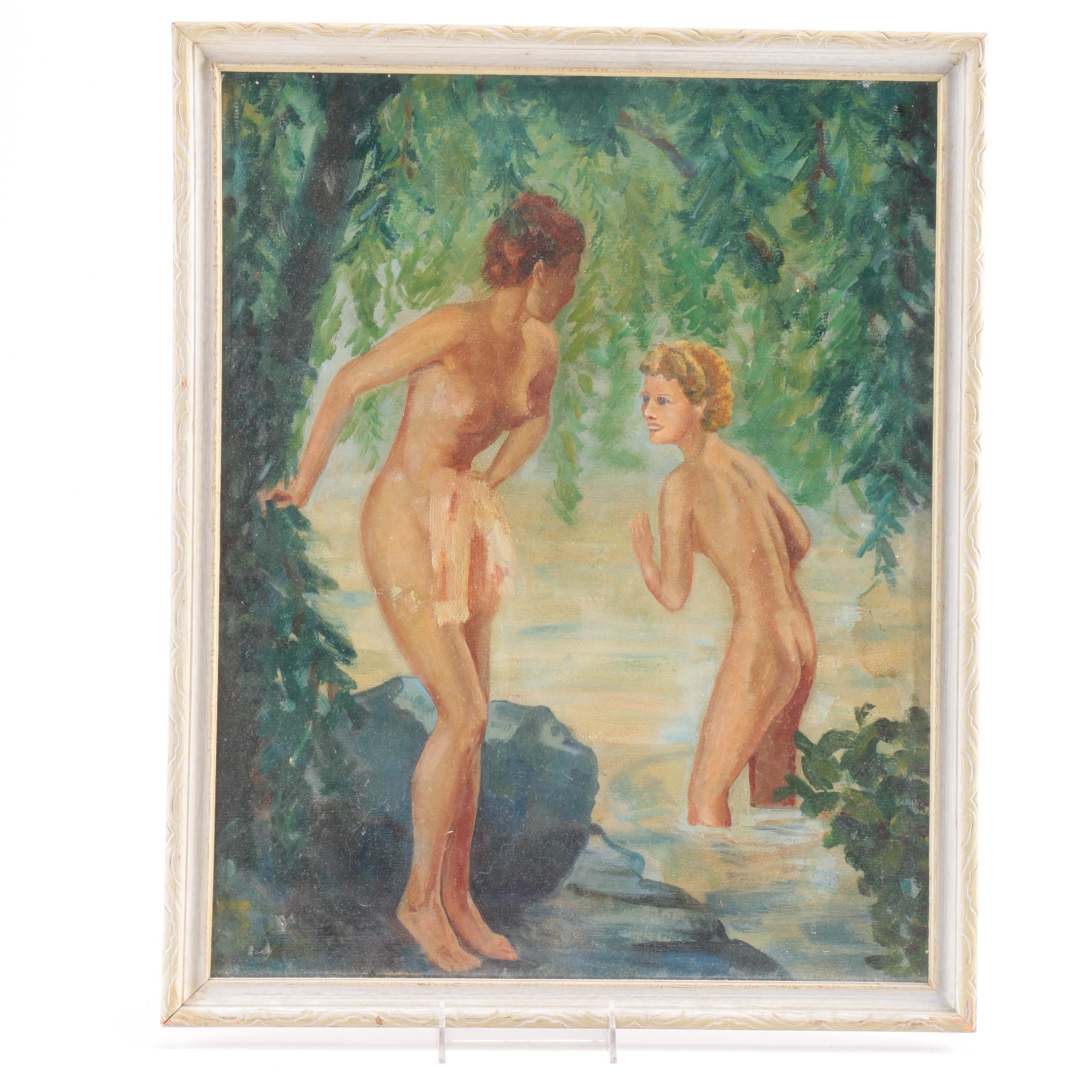 Vintage Oil Painting on Canvas of Nude Figures Bathing in a River