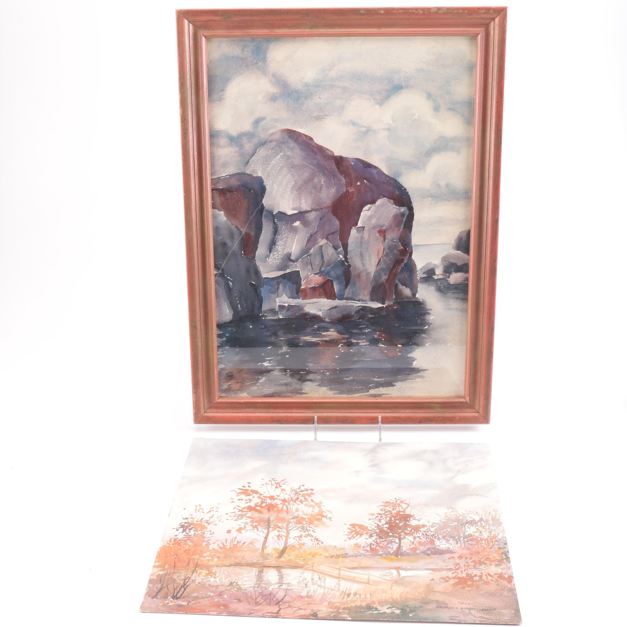 Raoul Monory and Andronik Simontschuk Landscape Watercolors on Paper