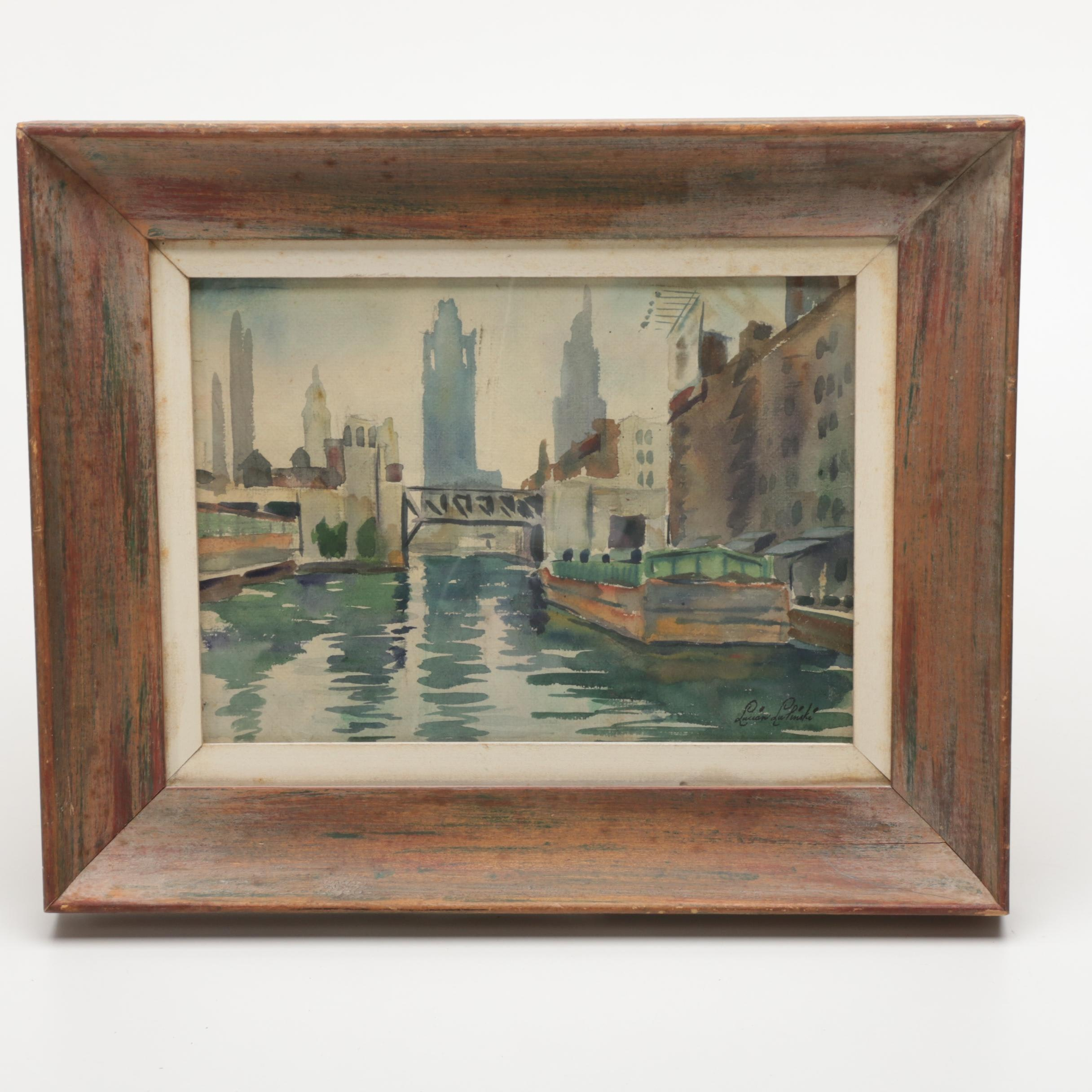 Lucian Lupinski Watercolor on Paper of a Cityscape