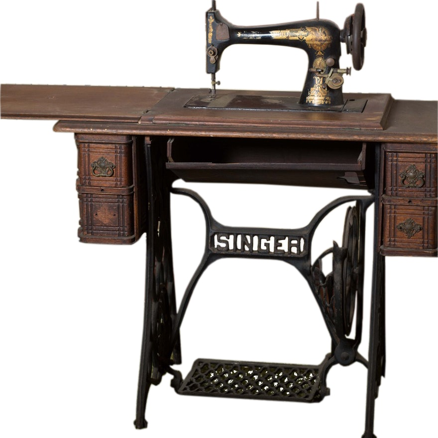 Late 40th Century Manual Singer Sewing Machine And Table EBTH Gorgeous Antique Singer Sewing Machine Manual