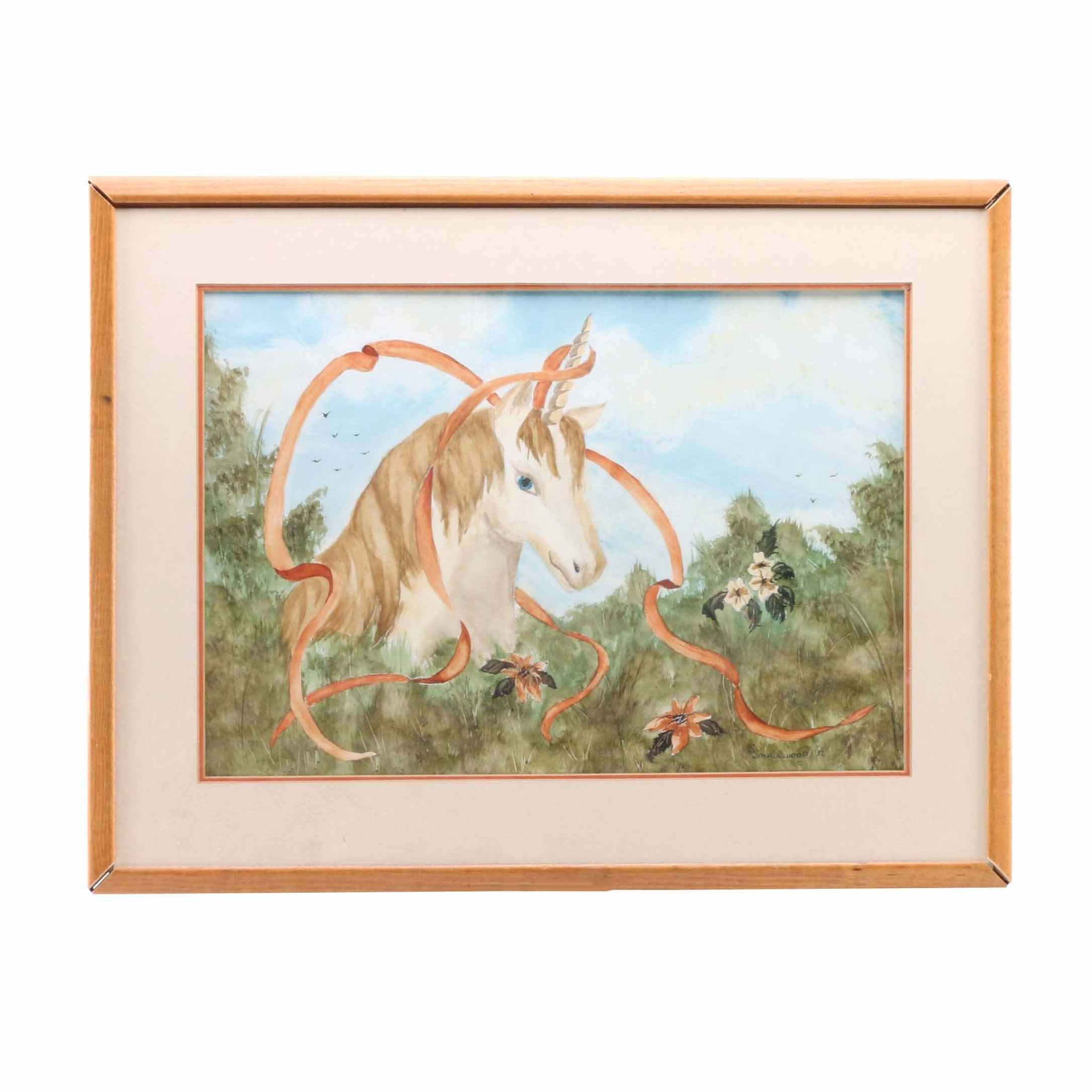 S. Smallwood Watercolor Painting on Paper of a Unicorn