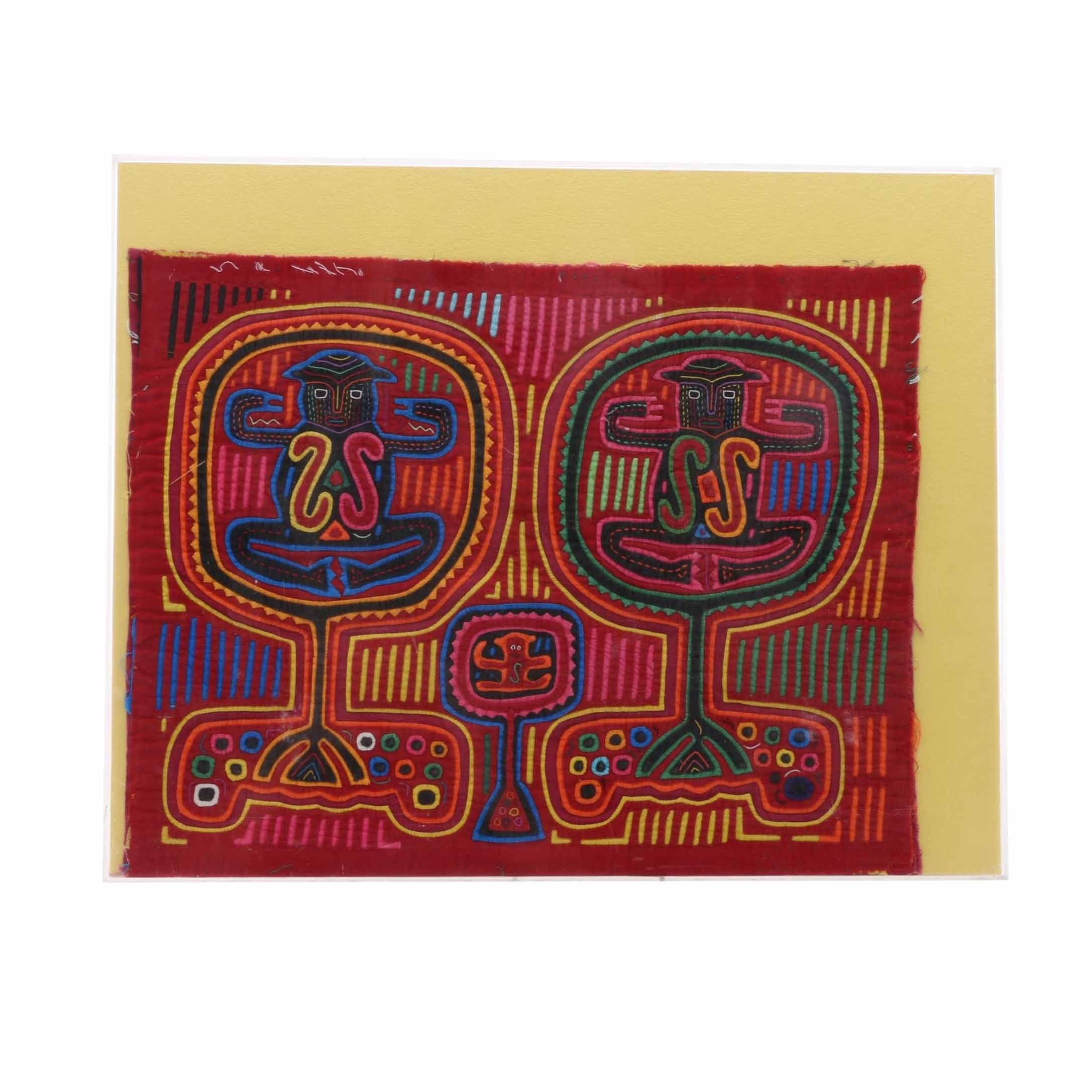 Mola Style Textile Art with Figural Motif