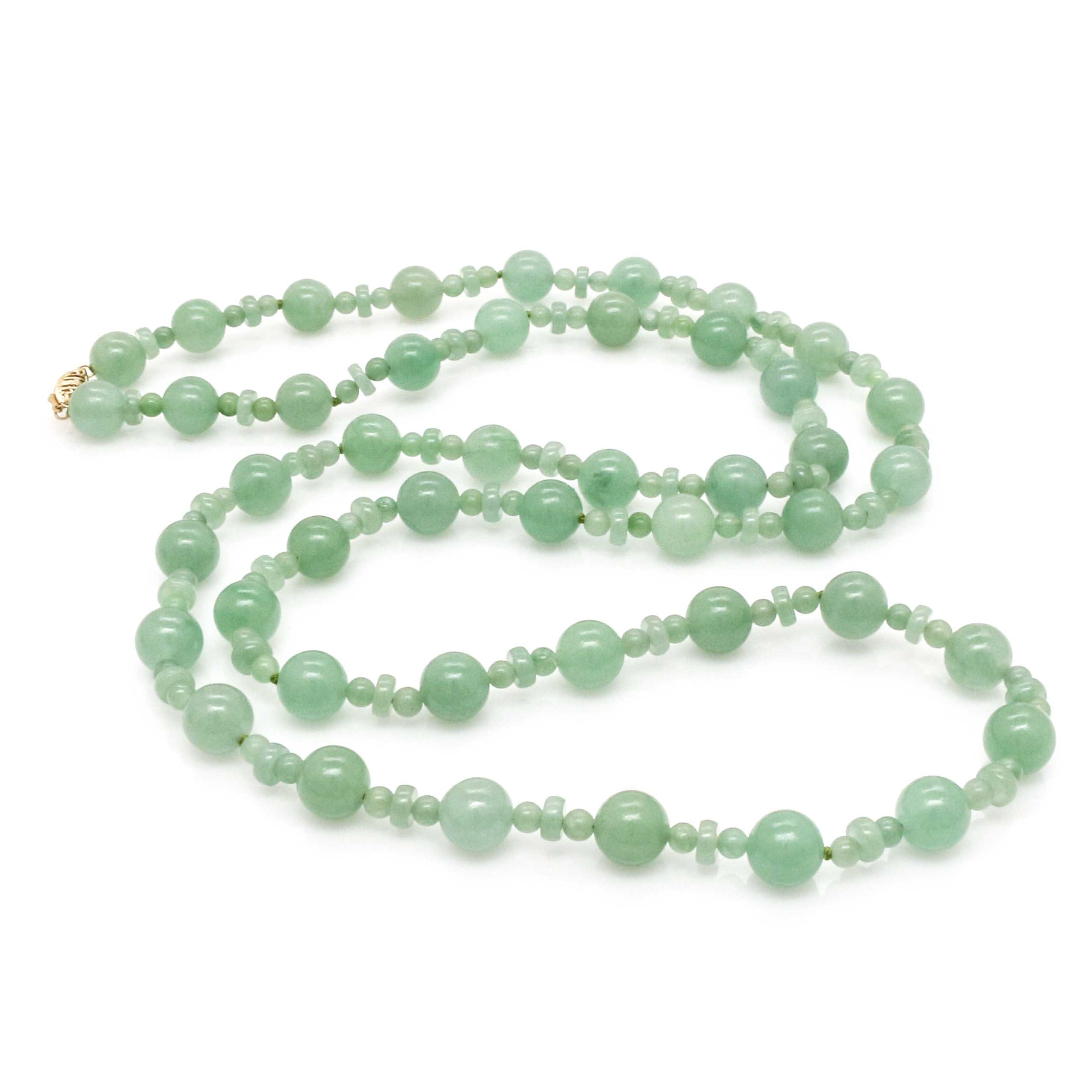 Jadeite Bead Necklace With 14K Yellow Gold Clasp by Gold Stone Jewelry