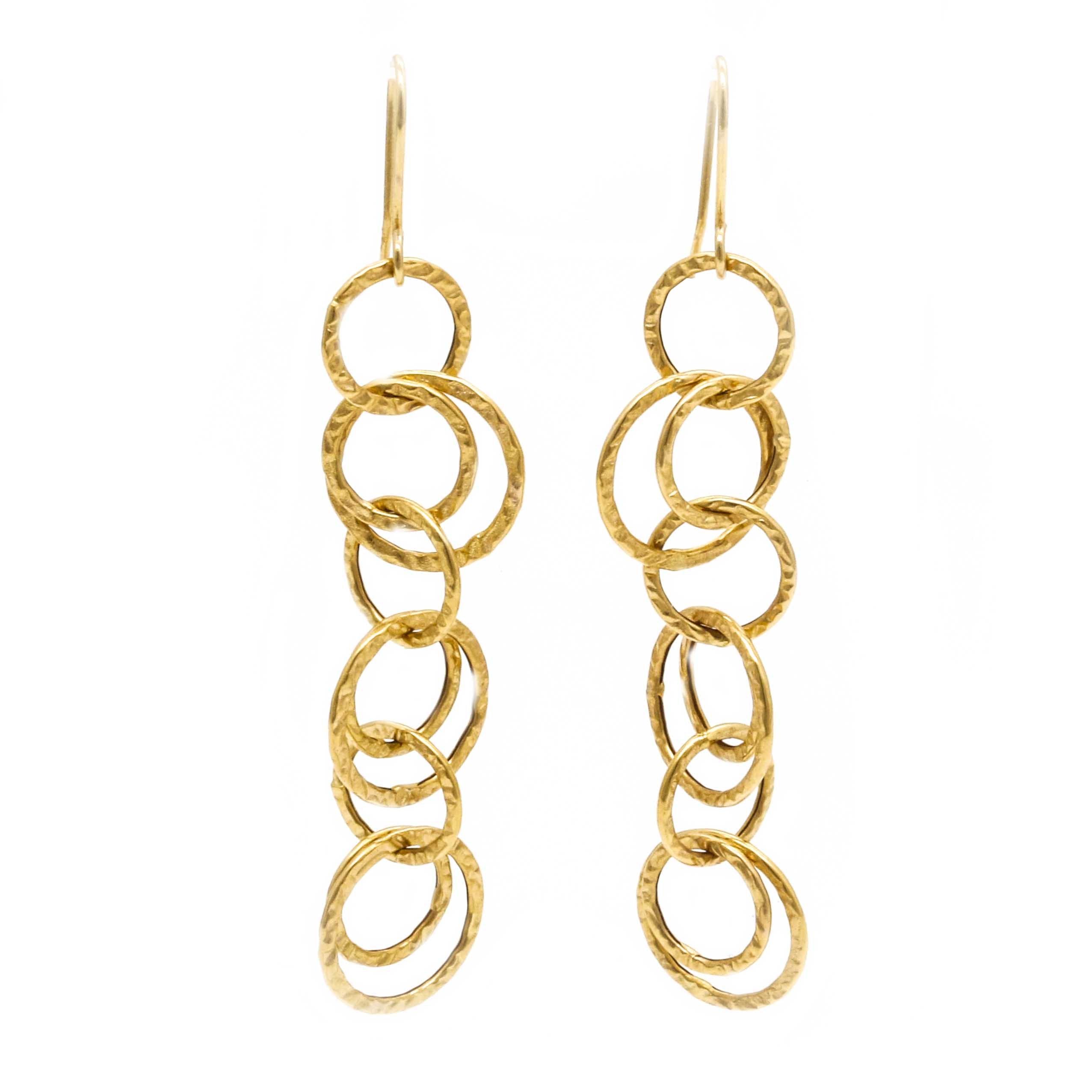 14K Yellow Gold Hoop Dangling Earrings