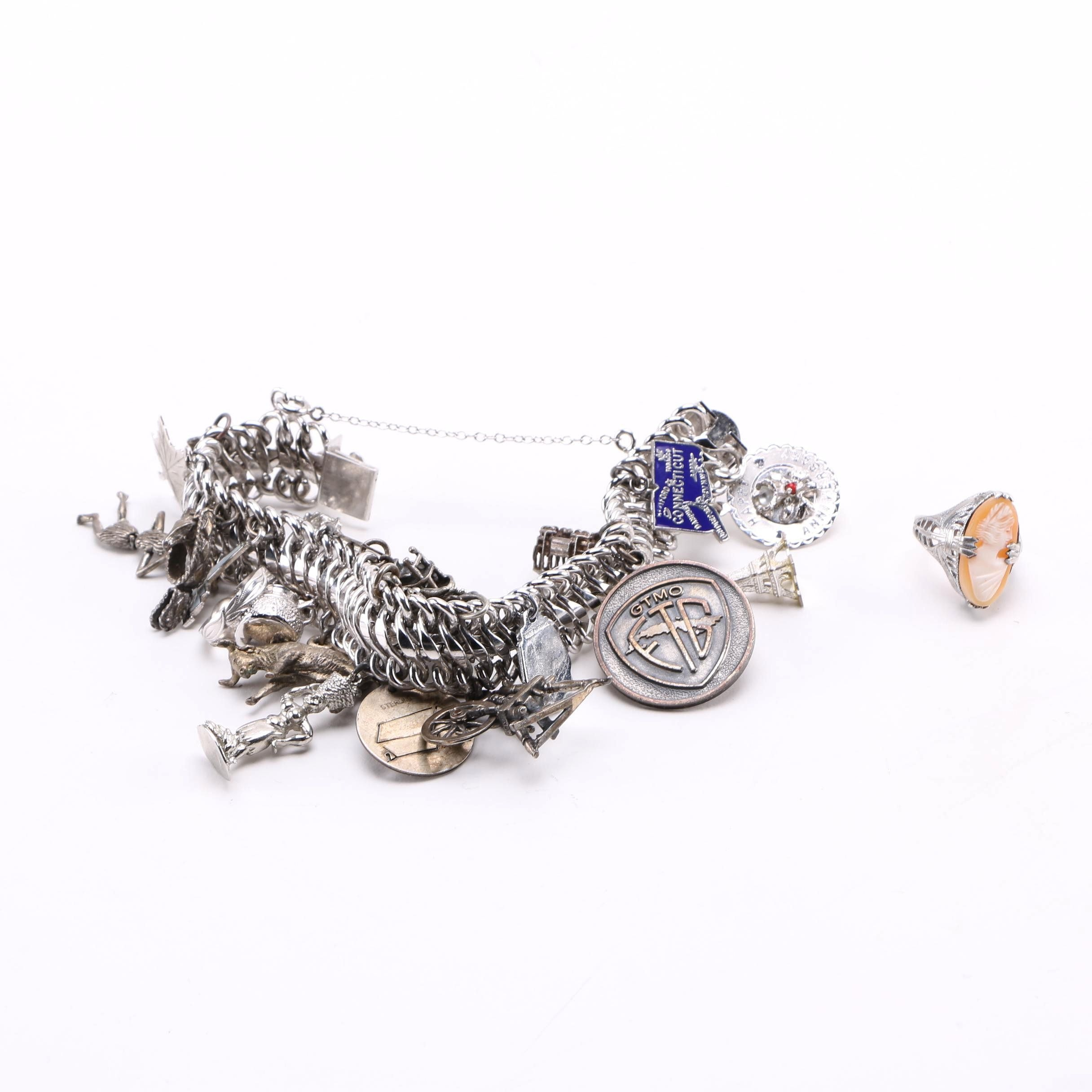 Elco Sterling Silver Charm Bracelet and Cameo Ring