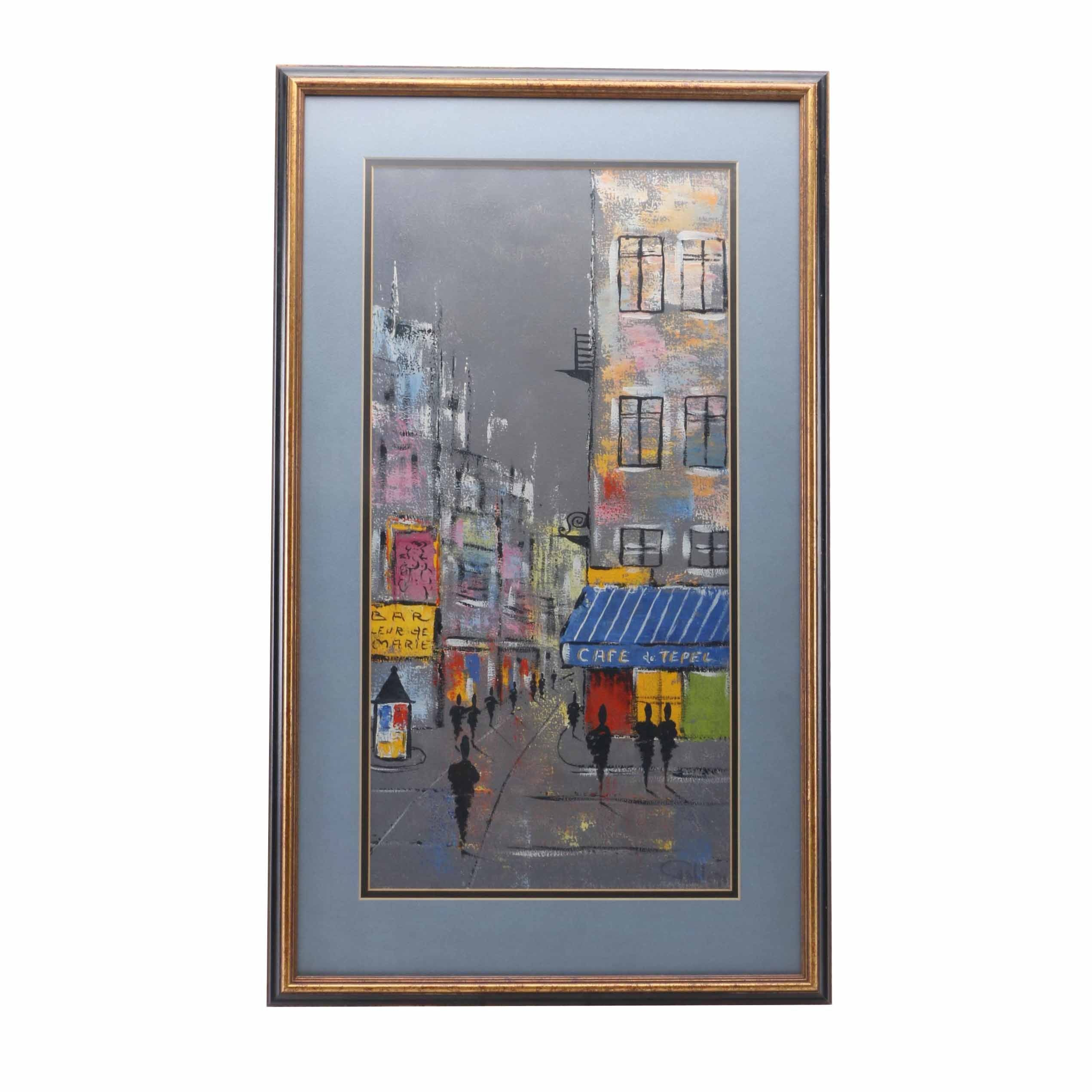 Signed Oil Painting on Canvas French City Scene