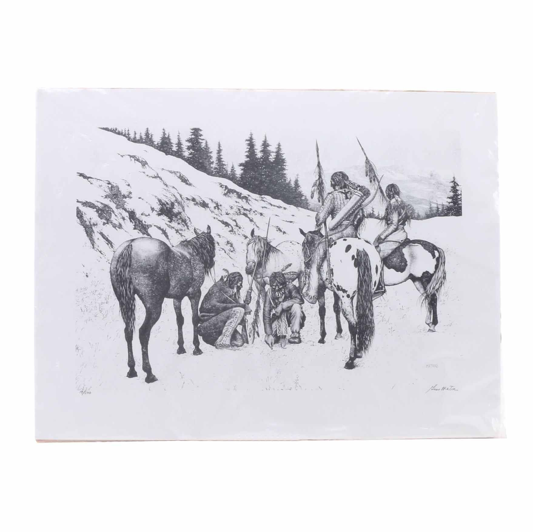 Gene Matras Limited Edition Lithograph on Paper of Native Americans