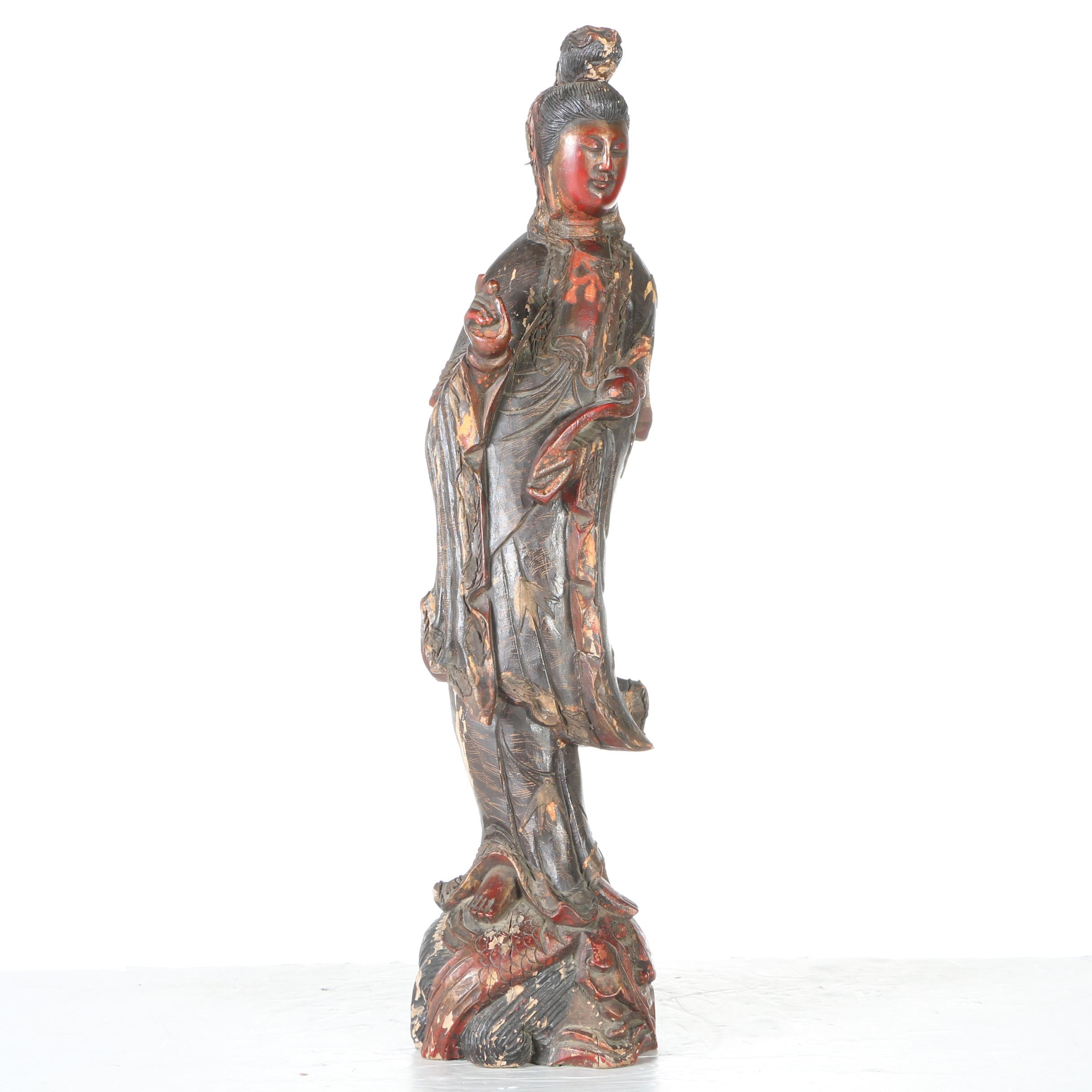 Antique Chinese Carved and Painted Wood Statue of Guanyin
