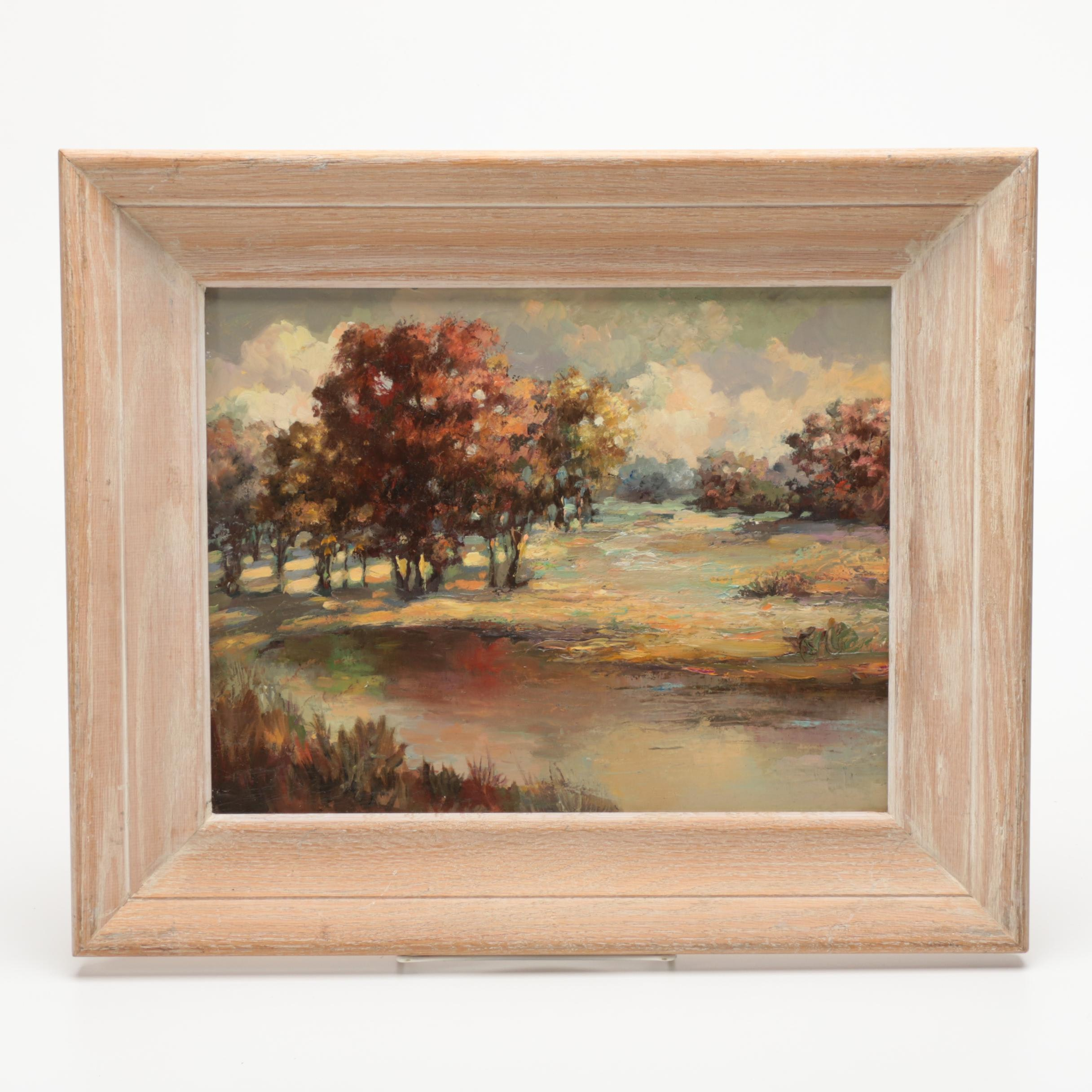 Oil on Board Landscape Painting Attributed to Charles E. Rubino