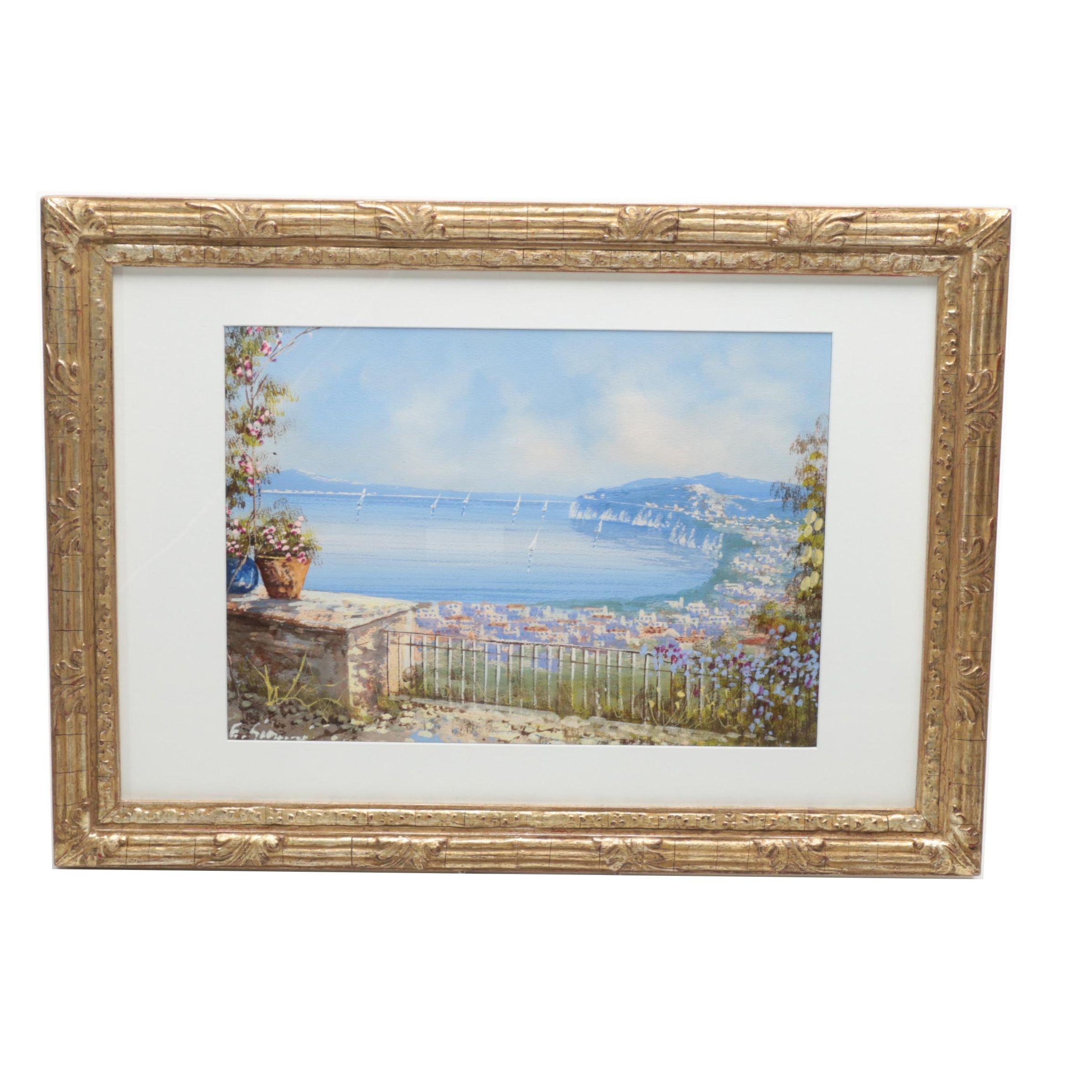 Ettore Gianni Gouache Painting on Paper of Coastal Landscape