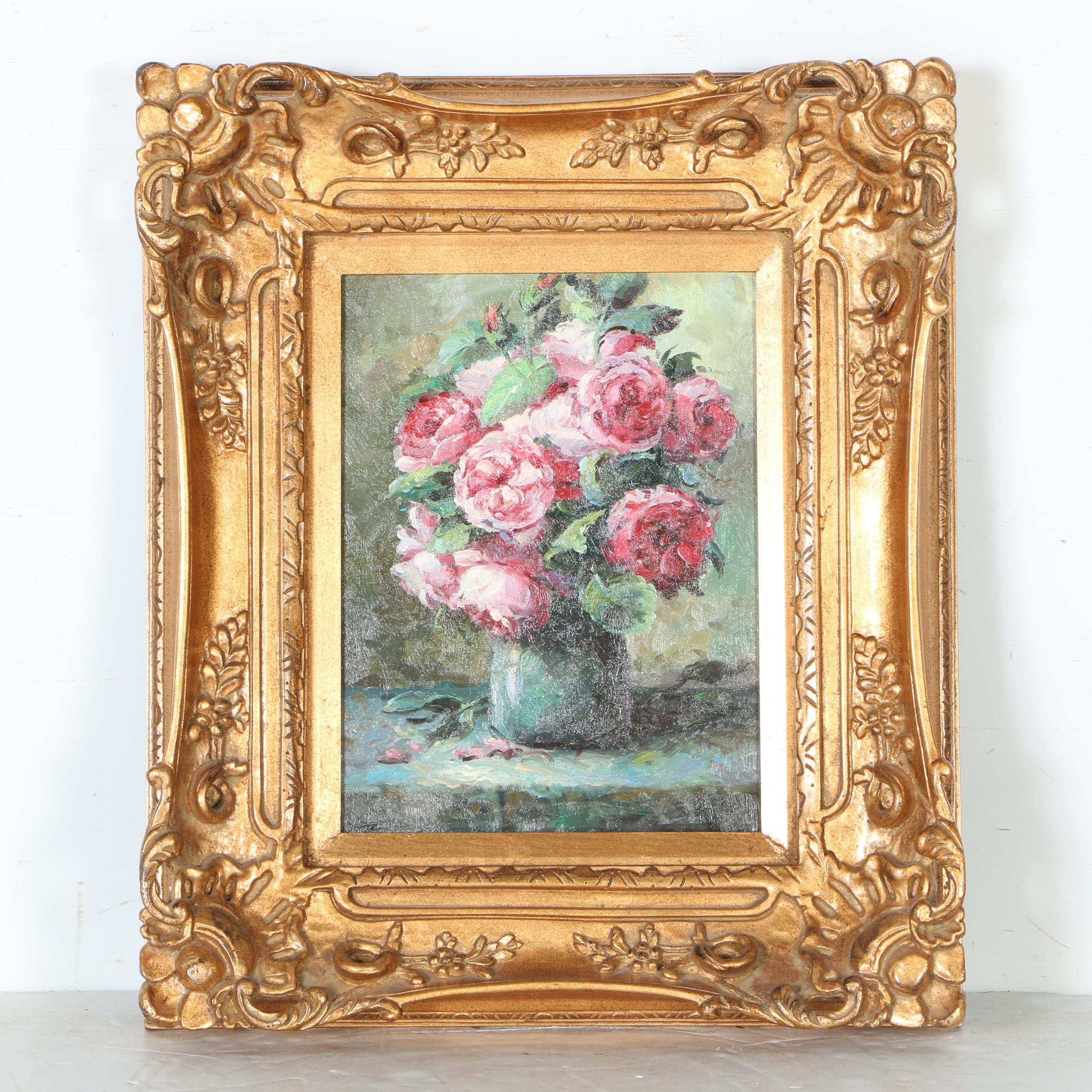 Oil Painting on Canvas of an Arrangement of Pink Roses