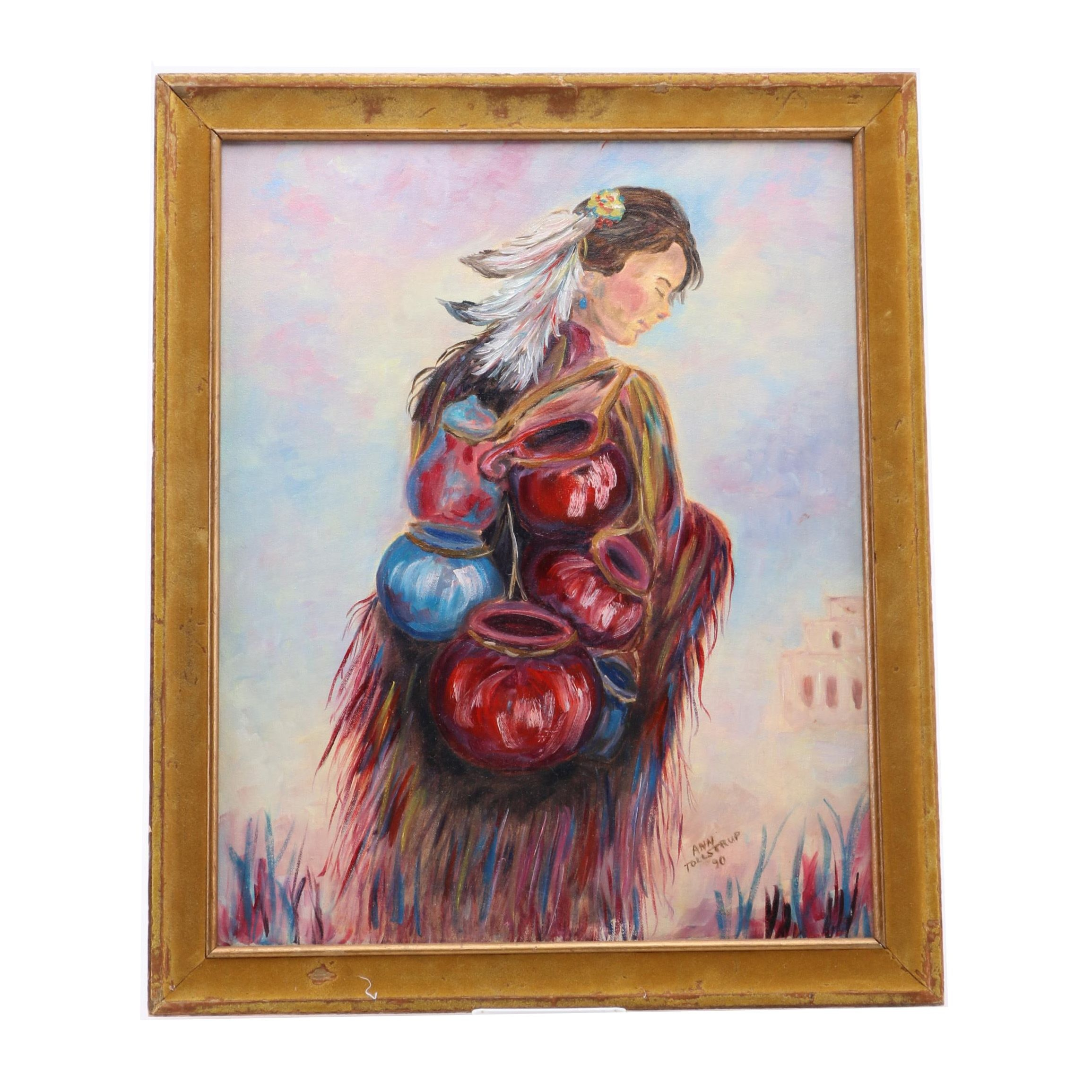 Ann Tollstrup Oil Painting on Canvas of Woman Carrying Vases