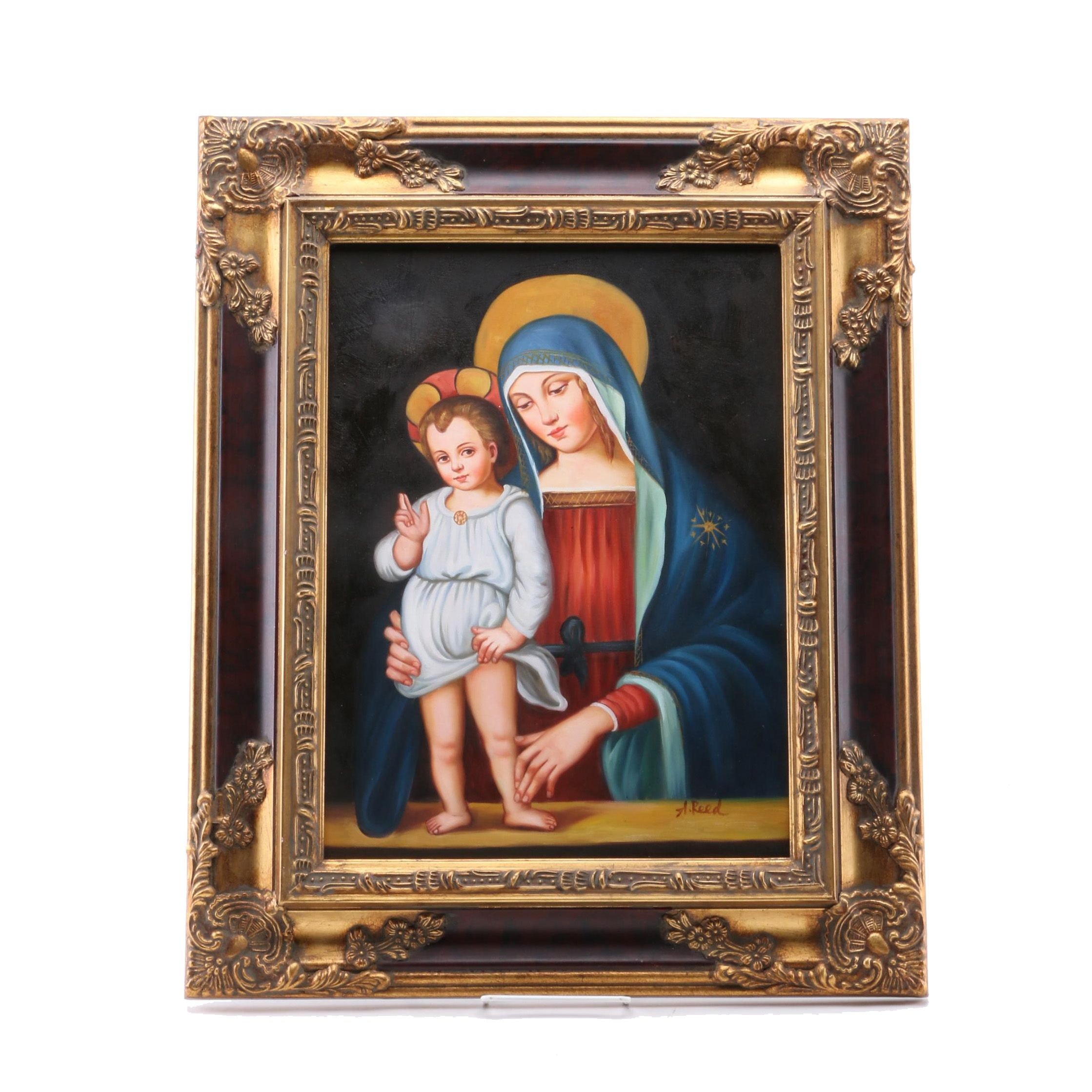 A. Reed Oil Painting on Canvas of Madonna and Child