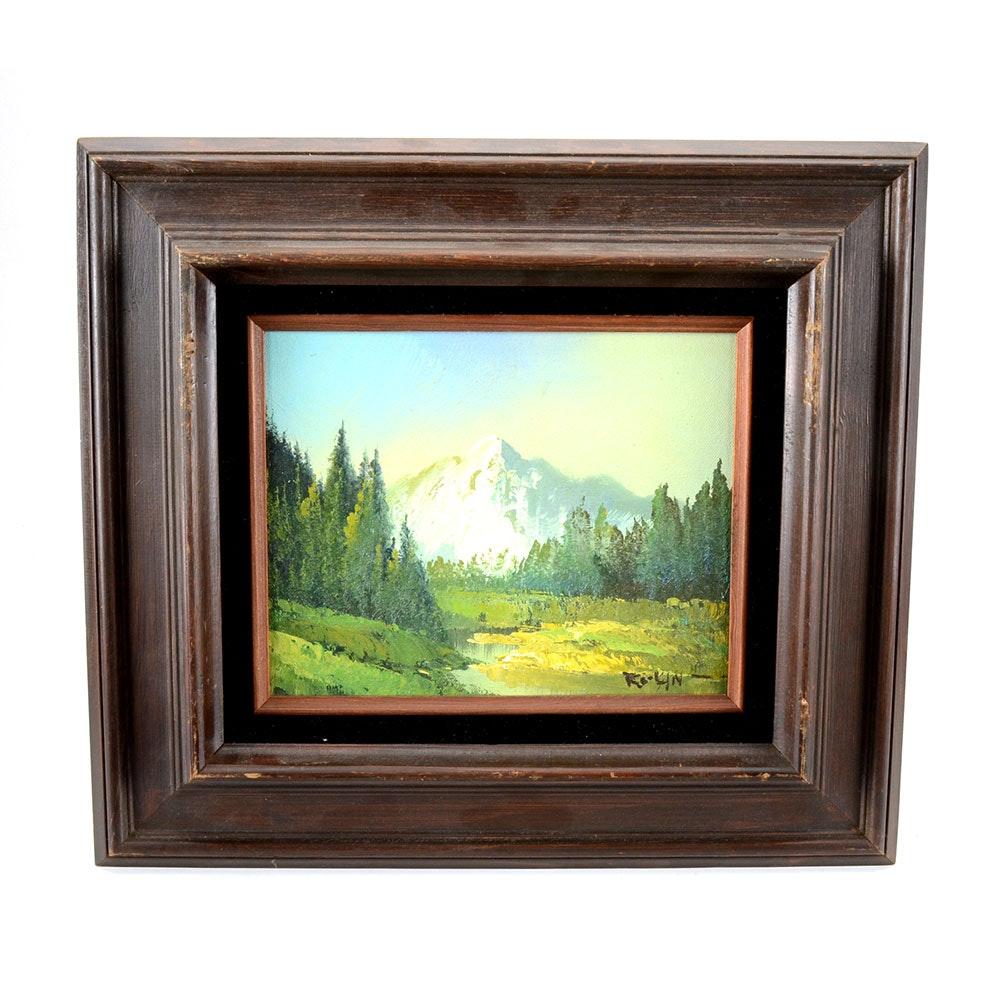 Vintage Original Decorative Oil Landscape on Canvas