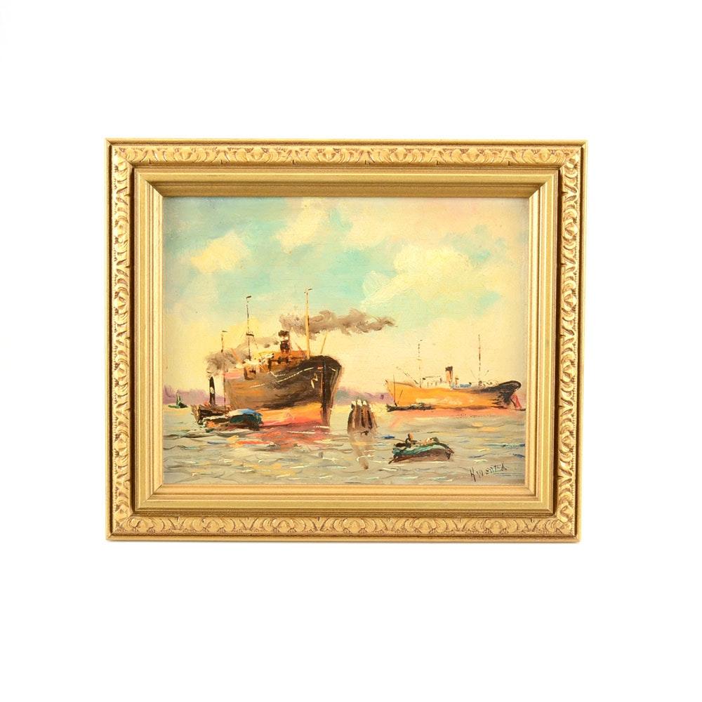 H. Wester Original Maritime Oil on Academy Board
