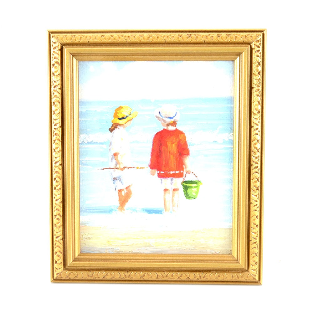 Original Contemporary Impressionist Oil Beach Scene on Canvas