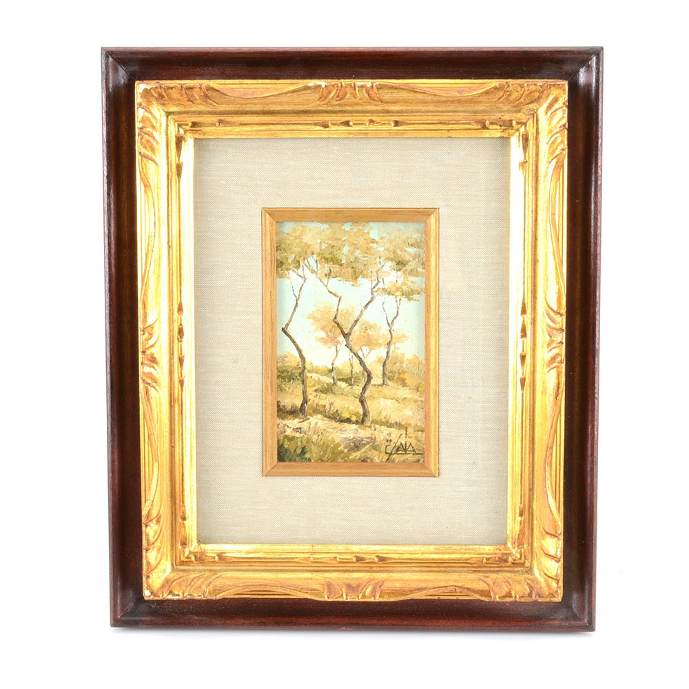 "C. Saia Original Oil Landscape on Wood ""In Collina"""