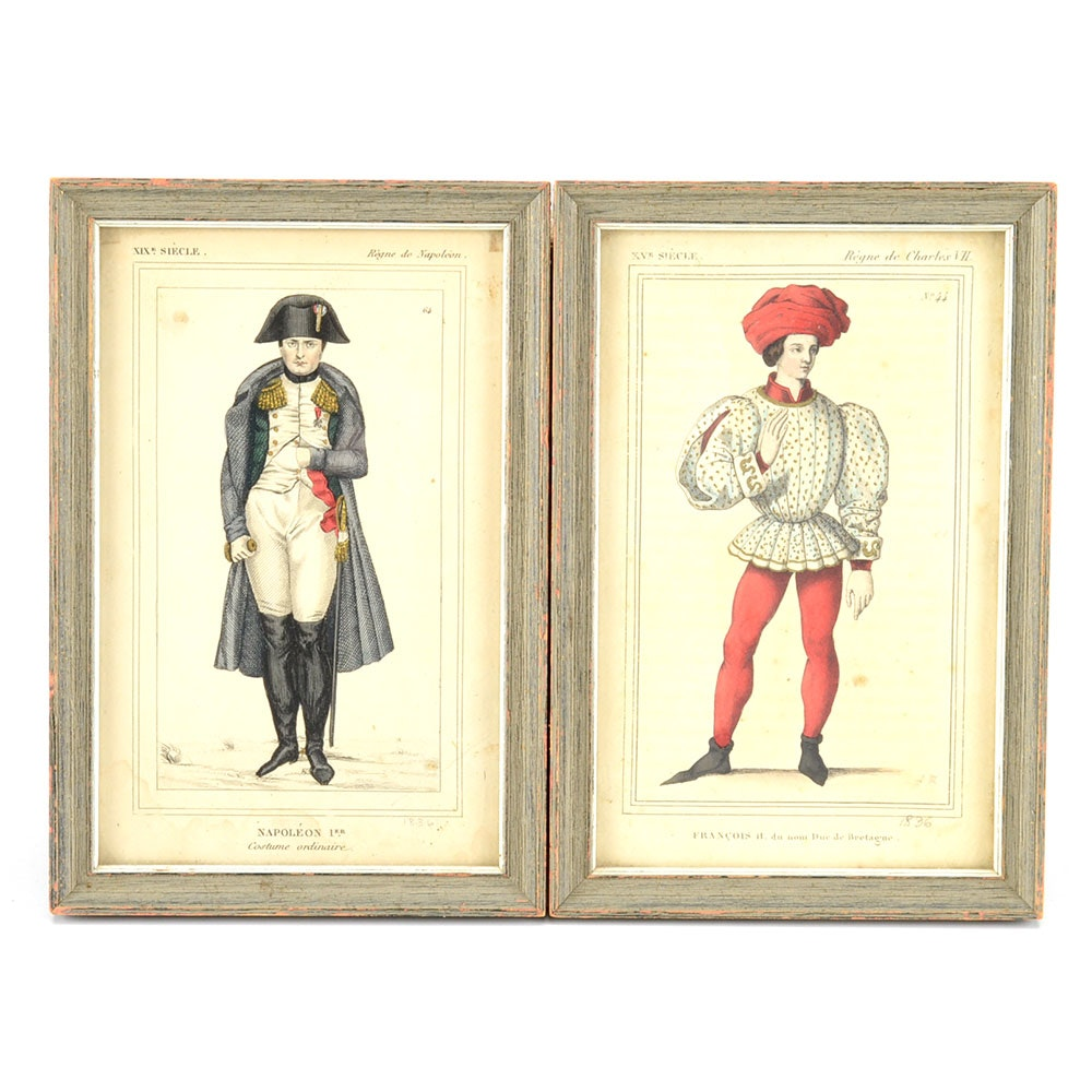 Two 19th-Century Hand-Colored French Engravings