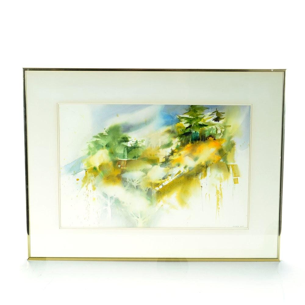 "Jean Wetzler Signed Original Watercolor ""Color Swept"""