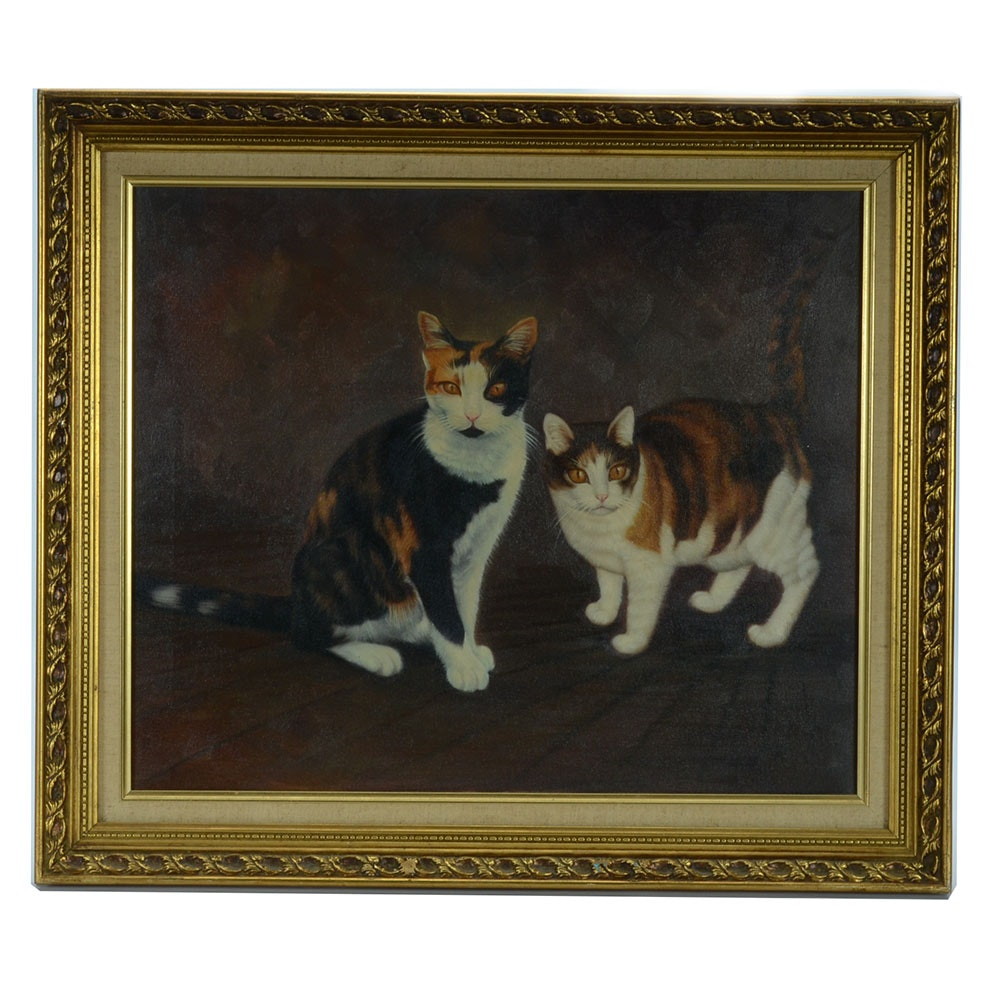 Vintage Oil Painting on Canvas of Cats