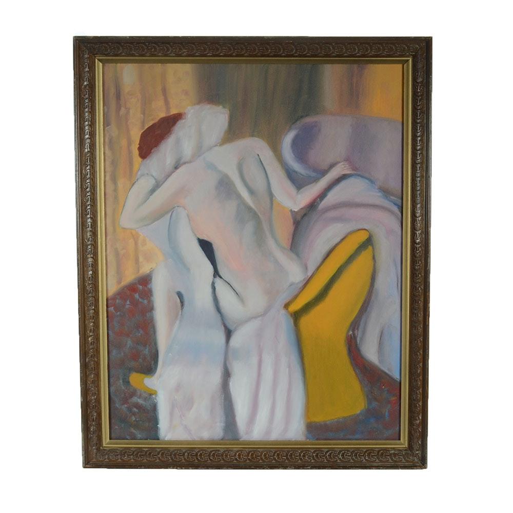 Original Oil on Canvas of Nude Bather