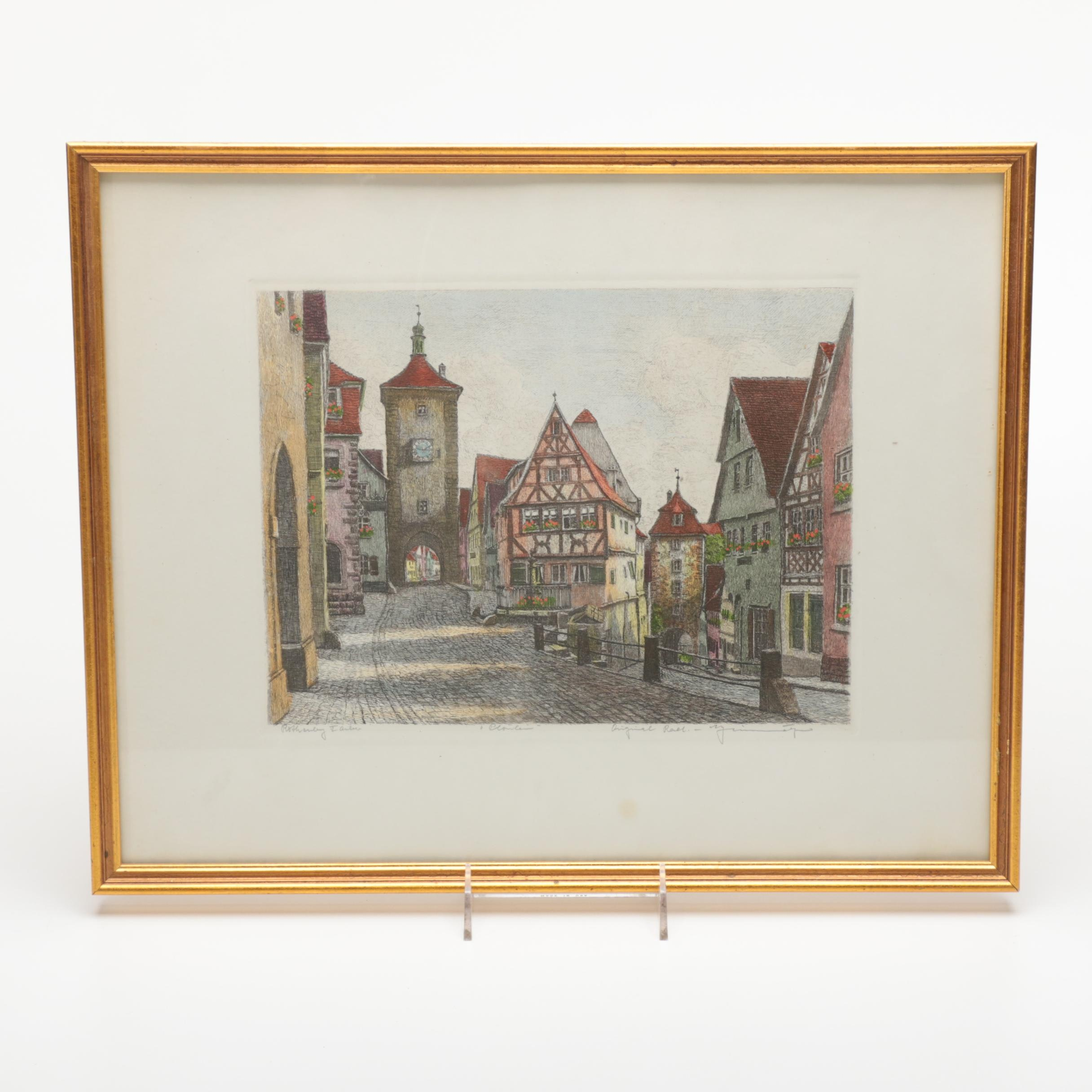 Limited Edition Hand Colored Etching of a Street in Rothenburg ob der Tauber