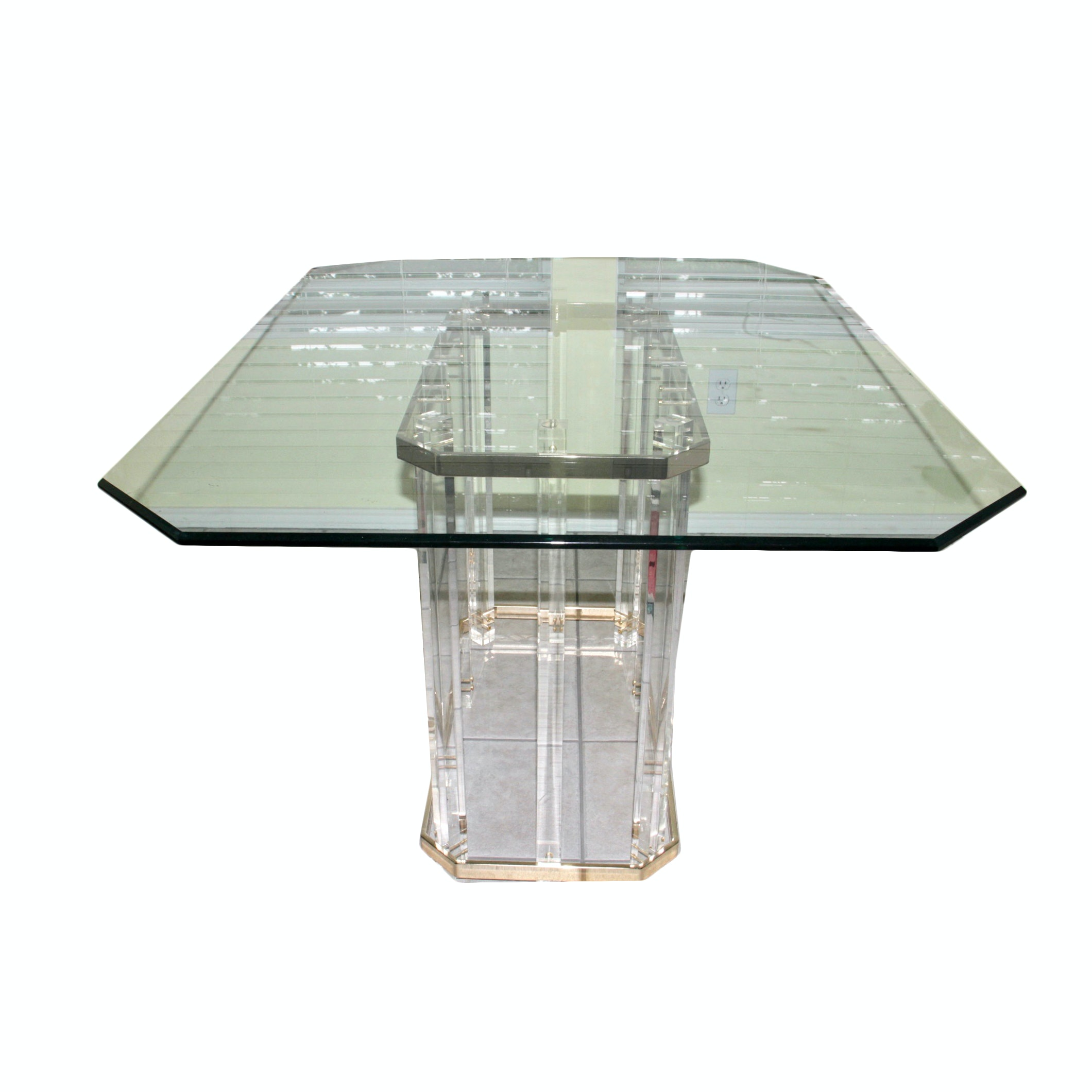 Mid Century Modern Glass Top Lucite Dining Table