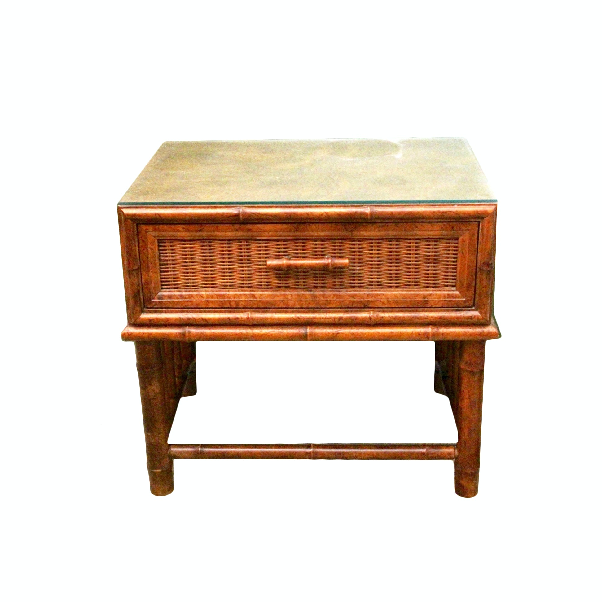 Wicker and Bamboo Style Nightstand by American of Martinsville