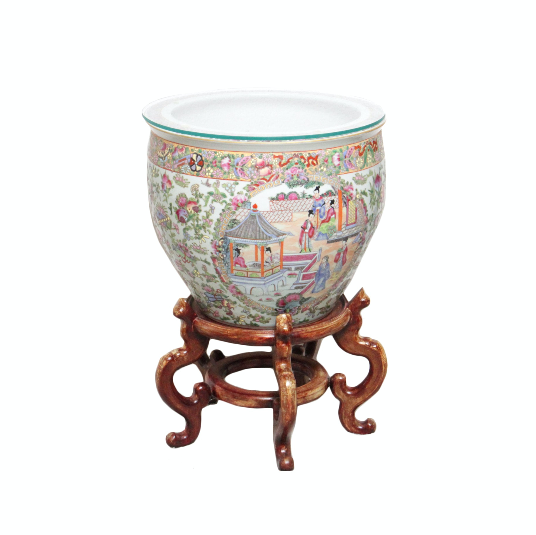 Famile Rose Chinese Inspired Fish Urn and Stand