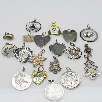 Nineteen Sterling Silver Charms