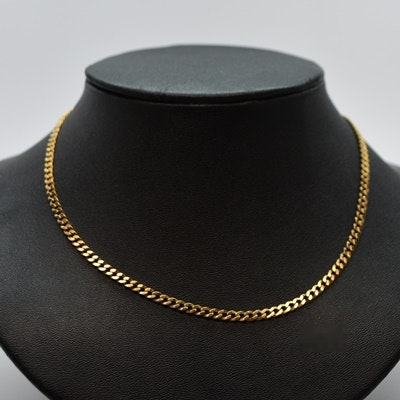 14K Yellow Gold Curb Style Chain Necklace