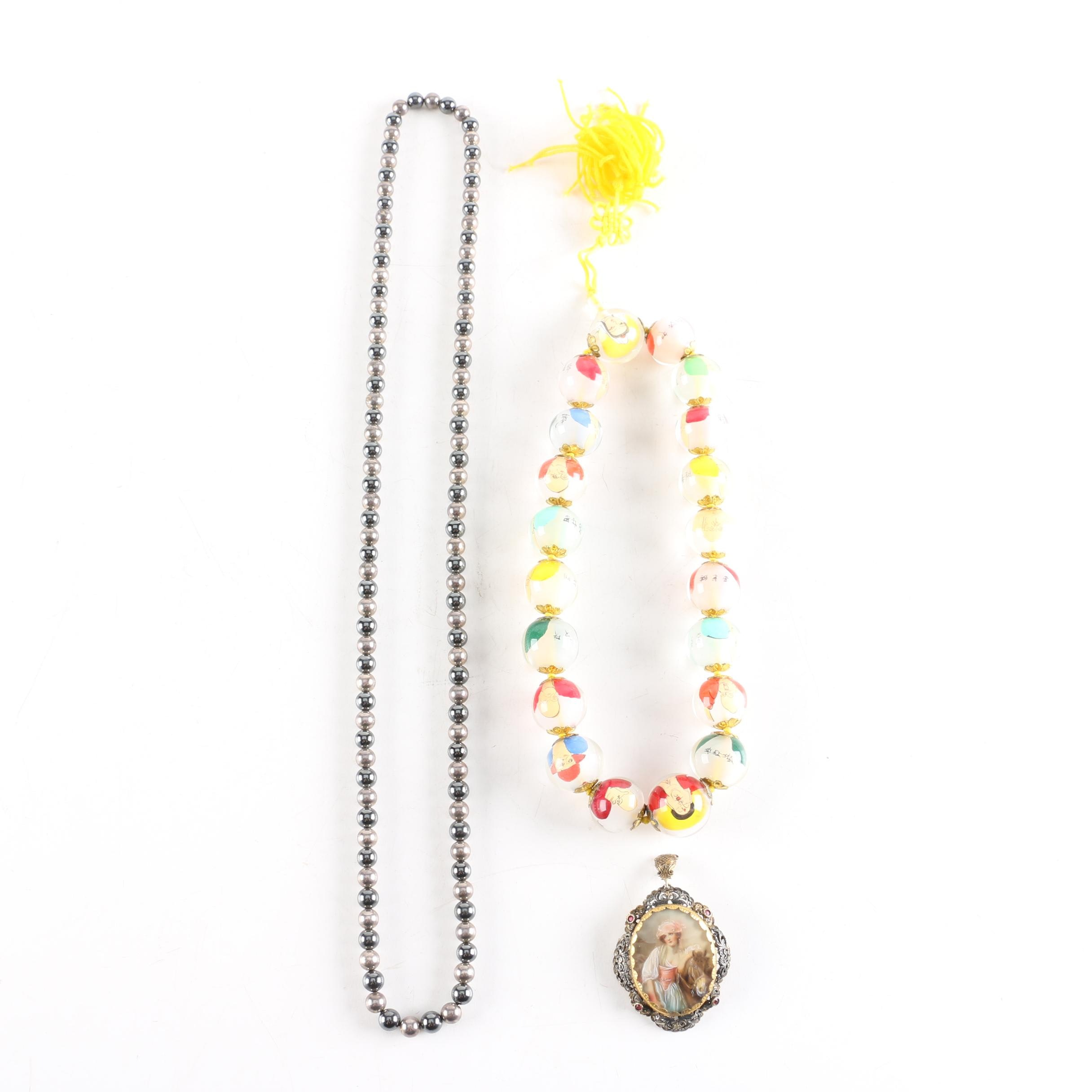 Costume Jewelry Including Reverse Painted Chinese Prayer Beads